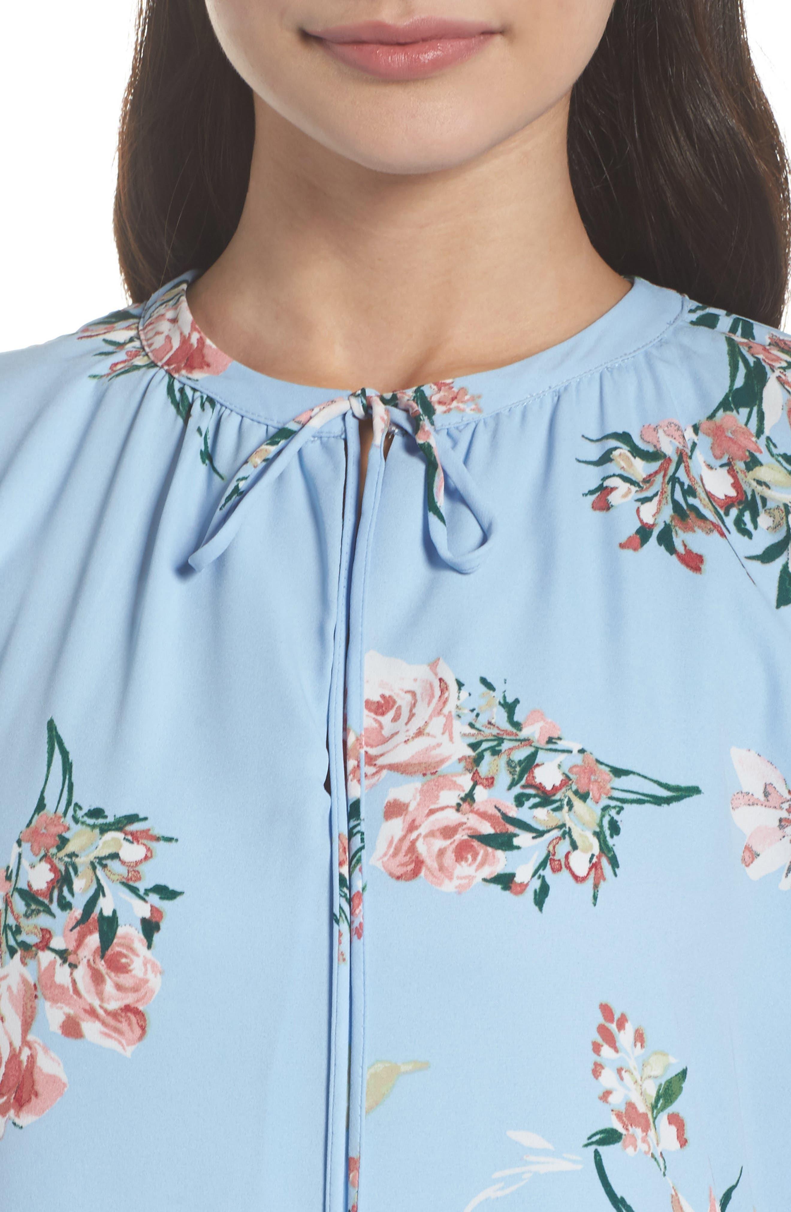 Floral Shift Dress,                             Alternate thumbnail 4, color,                             Blue Floral