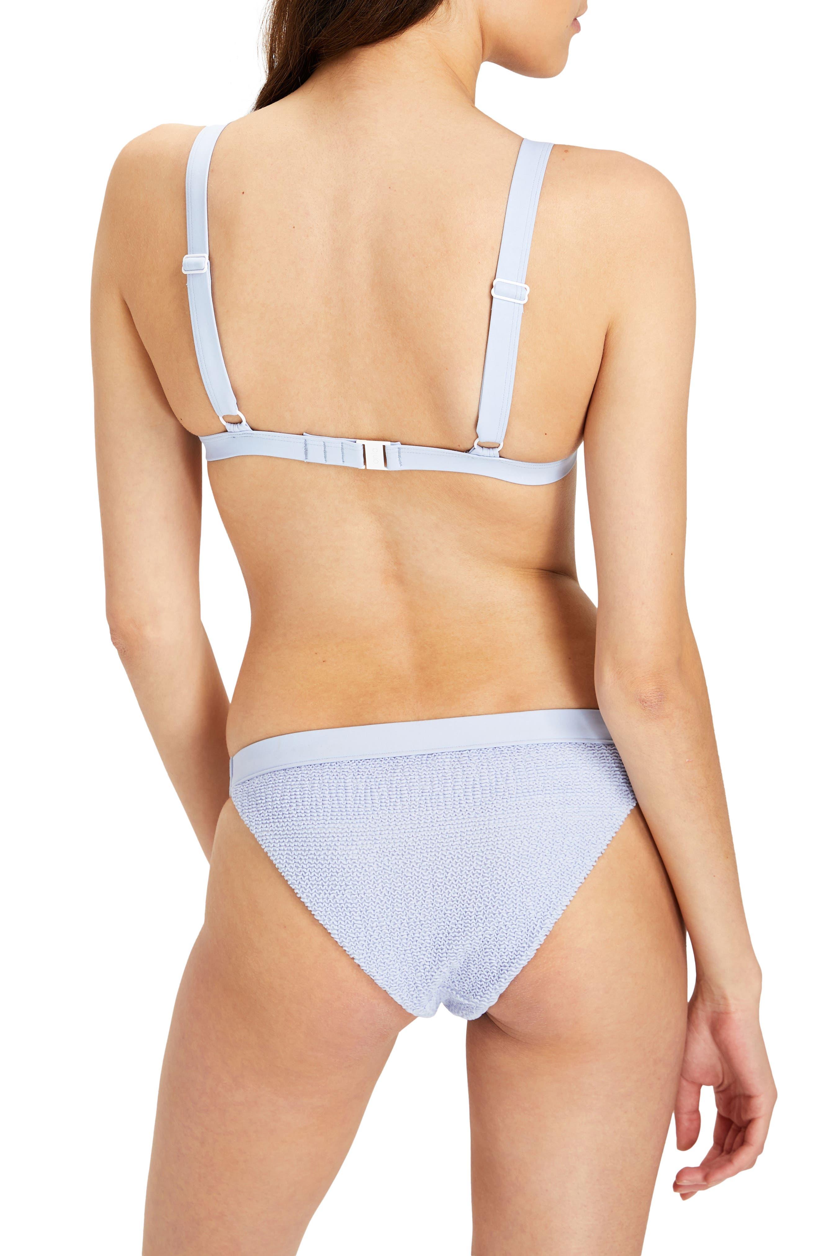Kamryn Rib Triangle Bikini Top,                             Alternate thumbnail 4, color,                             Iris