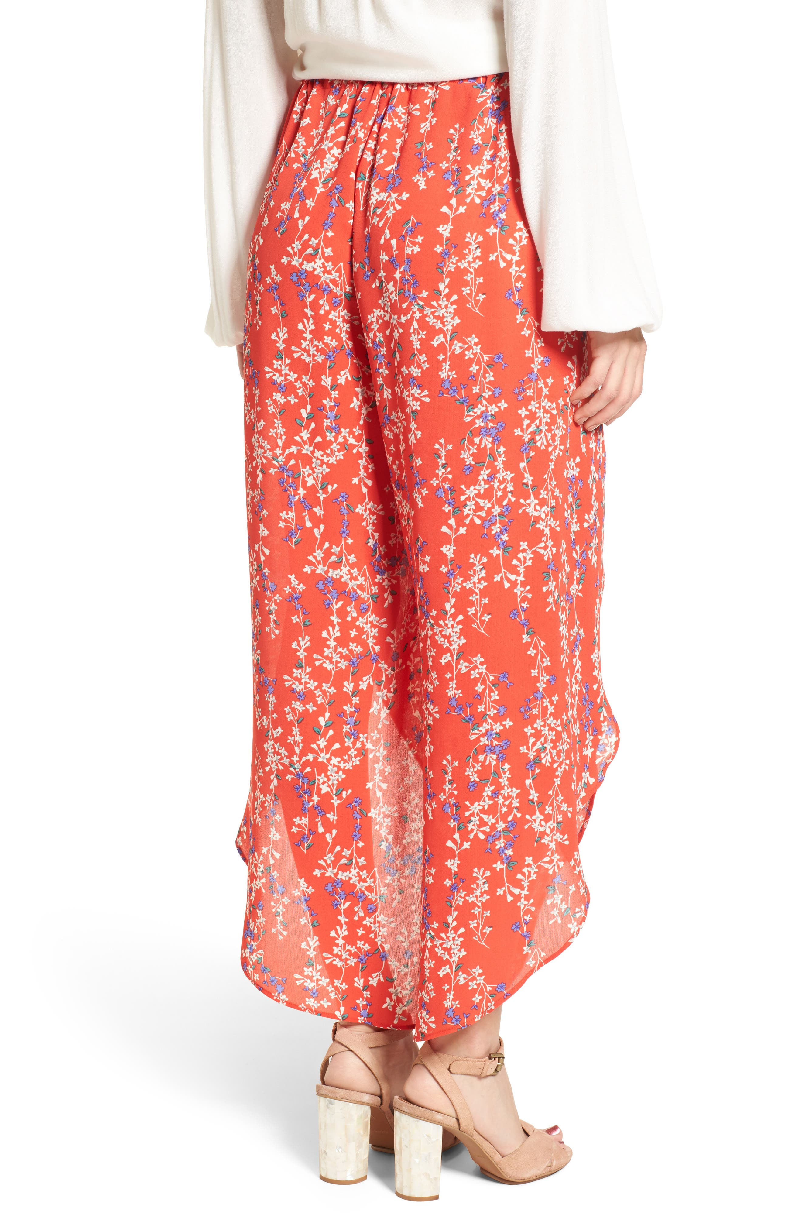 Floral Tie Front Split Hem Pants,                             Alternate thumbnail 3, color,                             Red Floral