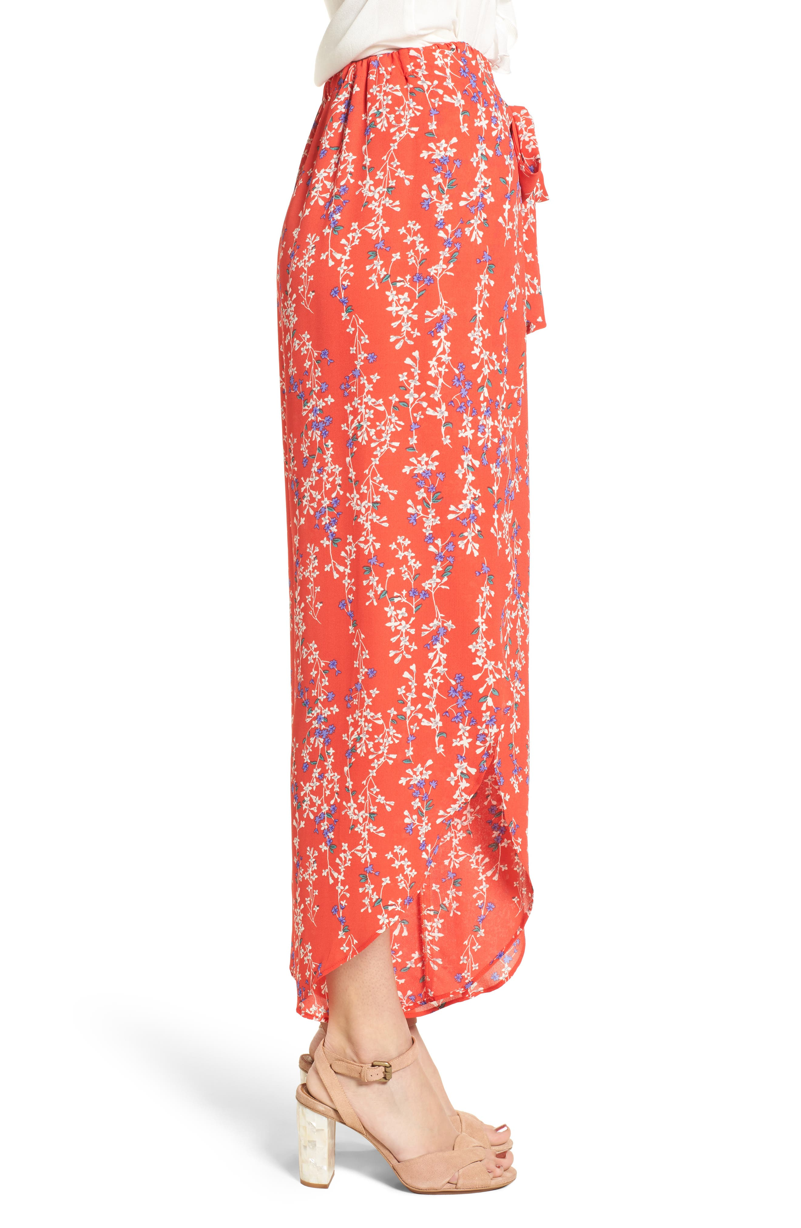Floral Tie Front Split Hem Pants,                             Alternate thumbnail 4, color,                             Red Floral