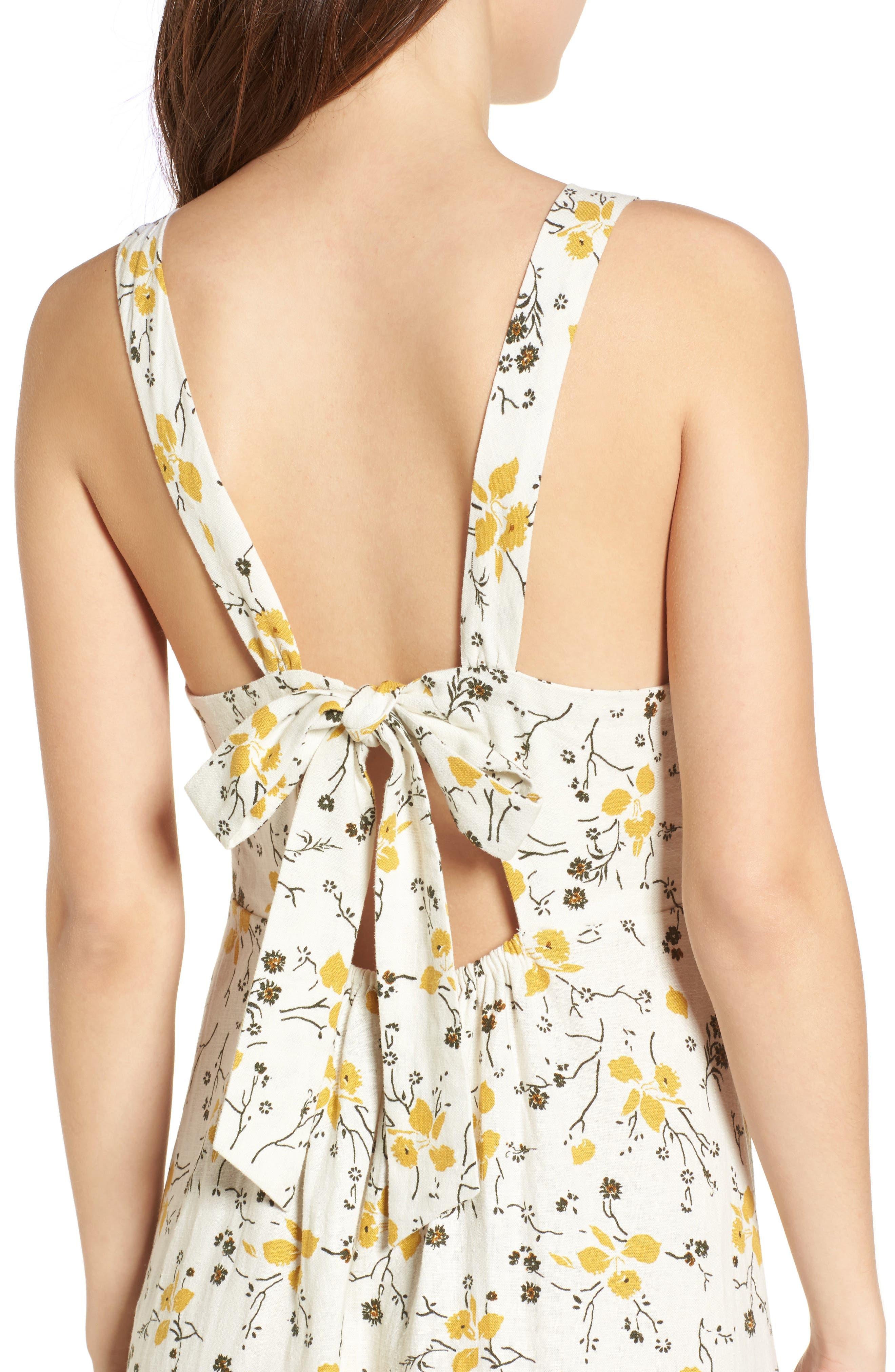 Floral Print Tie Back Midi Dress,                             Alternate thumbnail 4, color,                             Ivory Egret Redux Floral