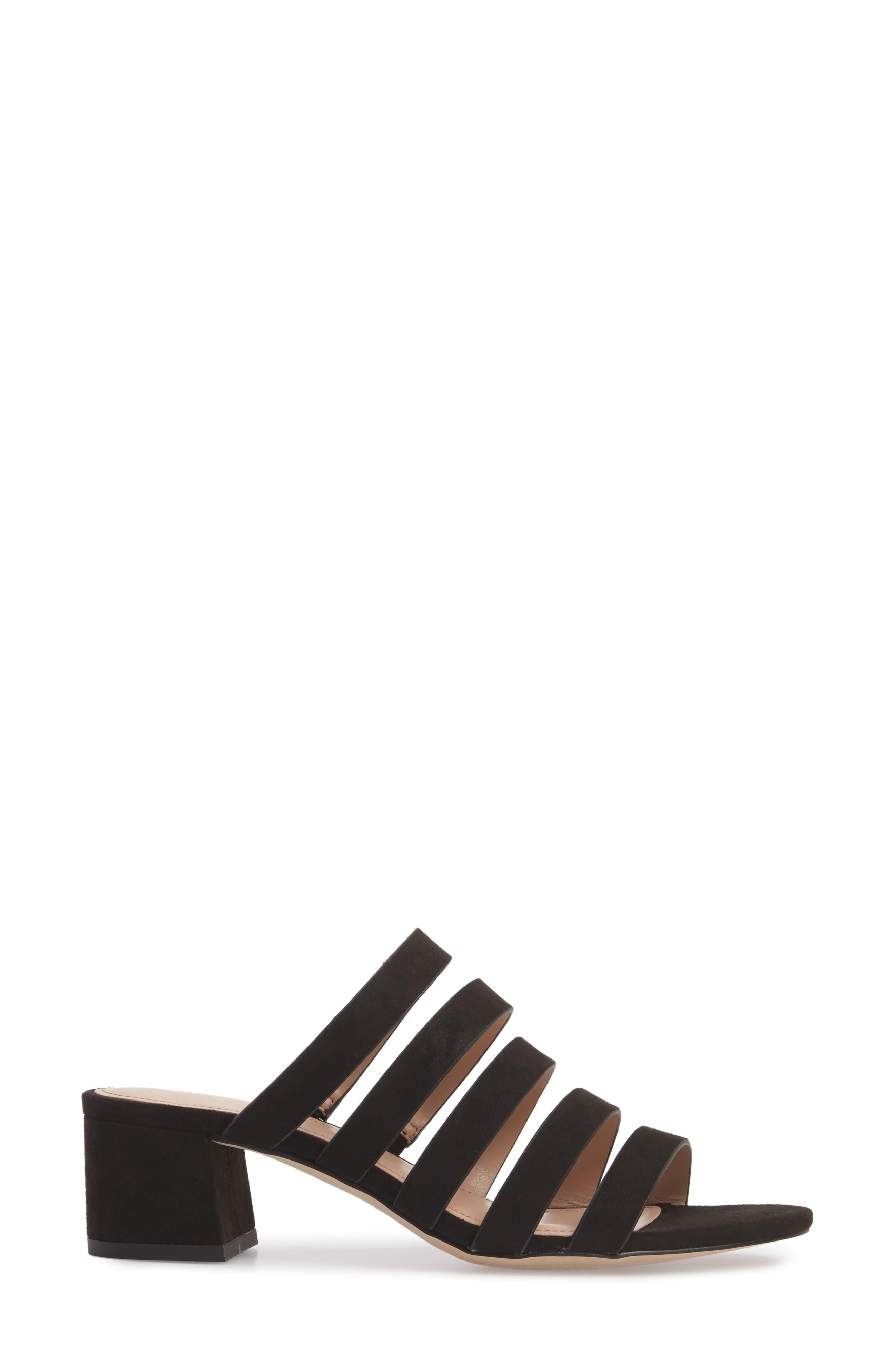 Frankie Slide Sandal,                             Alternate thumbnail 3, color,                             Black Micro Suede