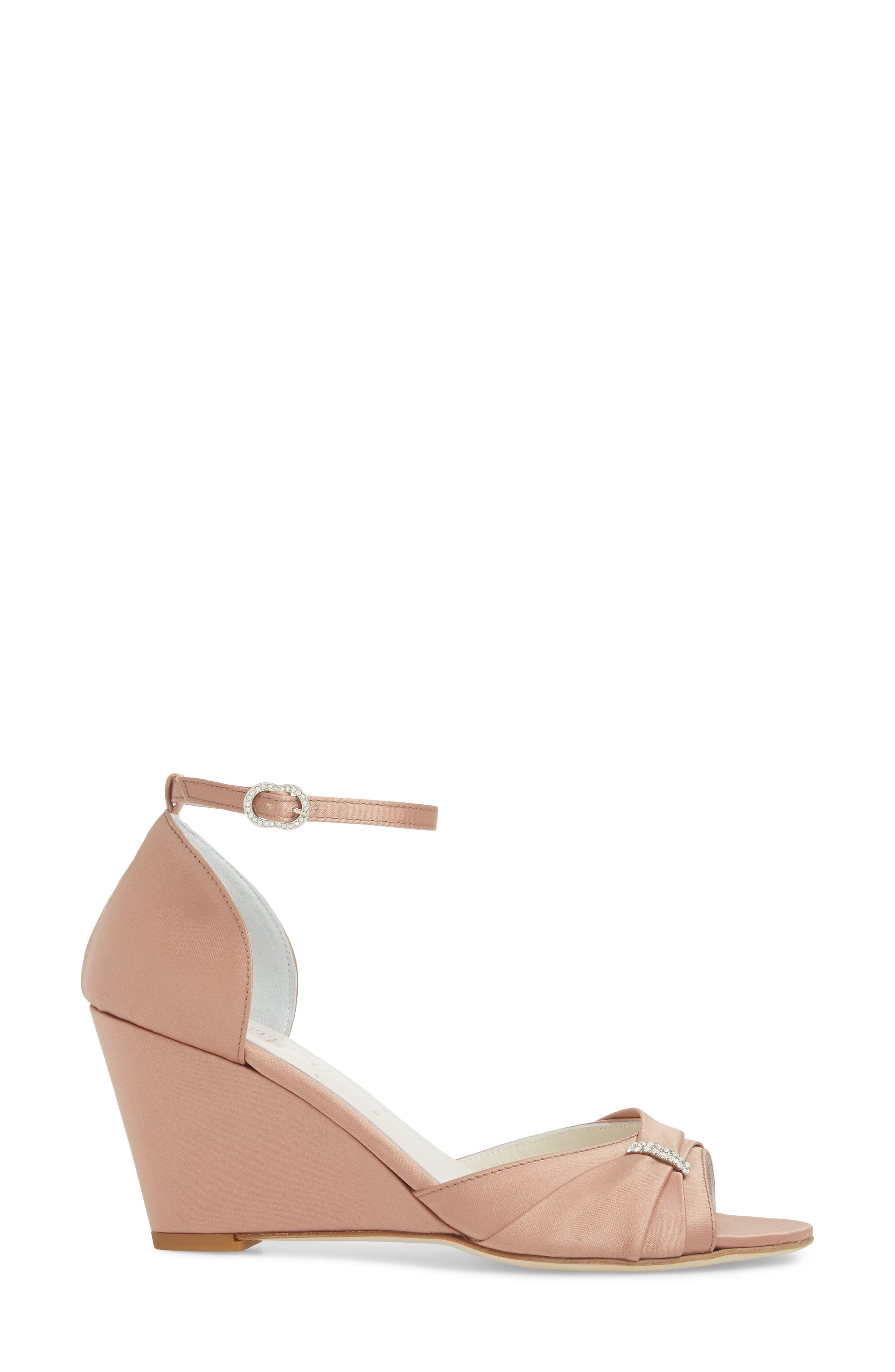 Queenie Ankle Strap Wedge Sandal,                             Alternate thumbnail 3, color,                             Blush Satin