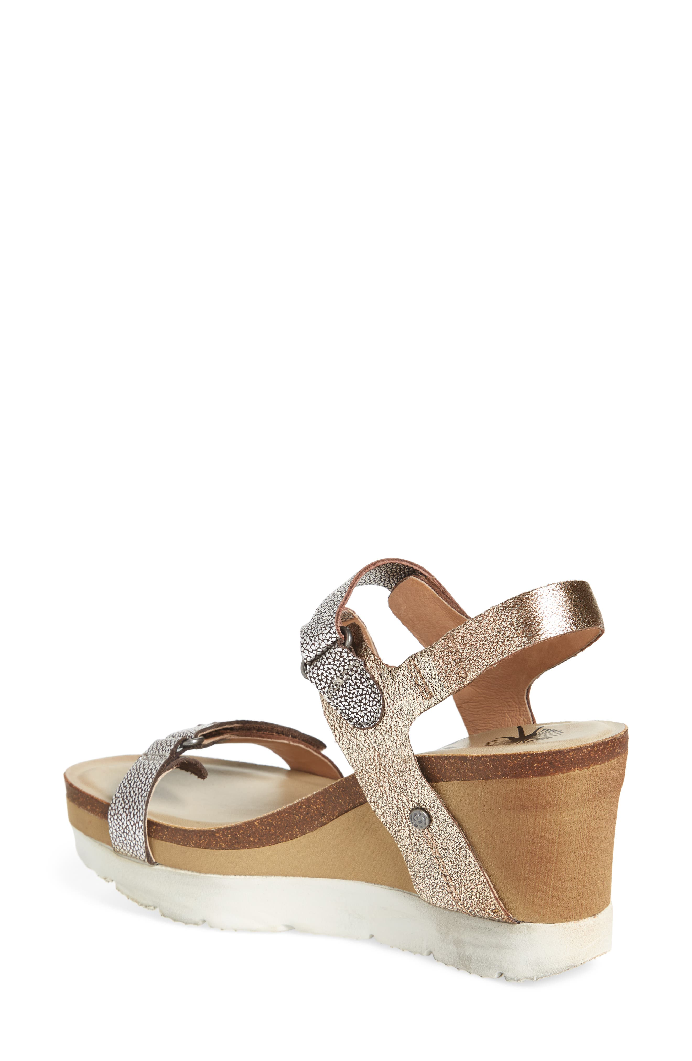 Wavey Wedge Sandal,                             Alternate thumbnail 2, color,                             Gold Leather