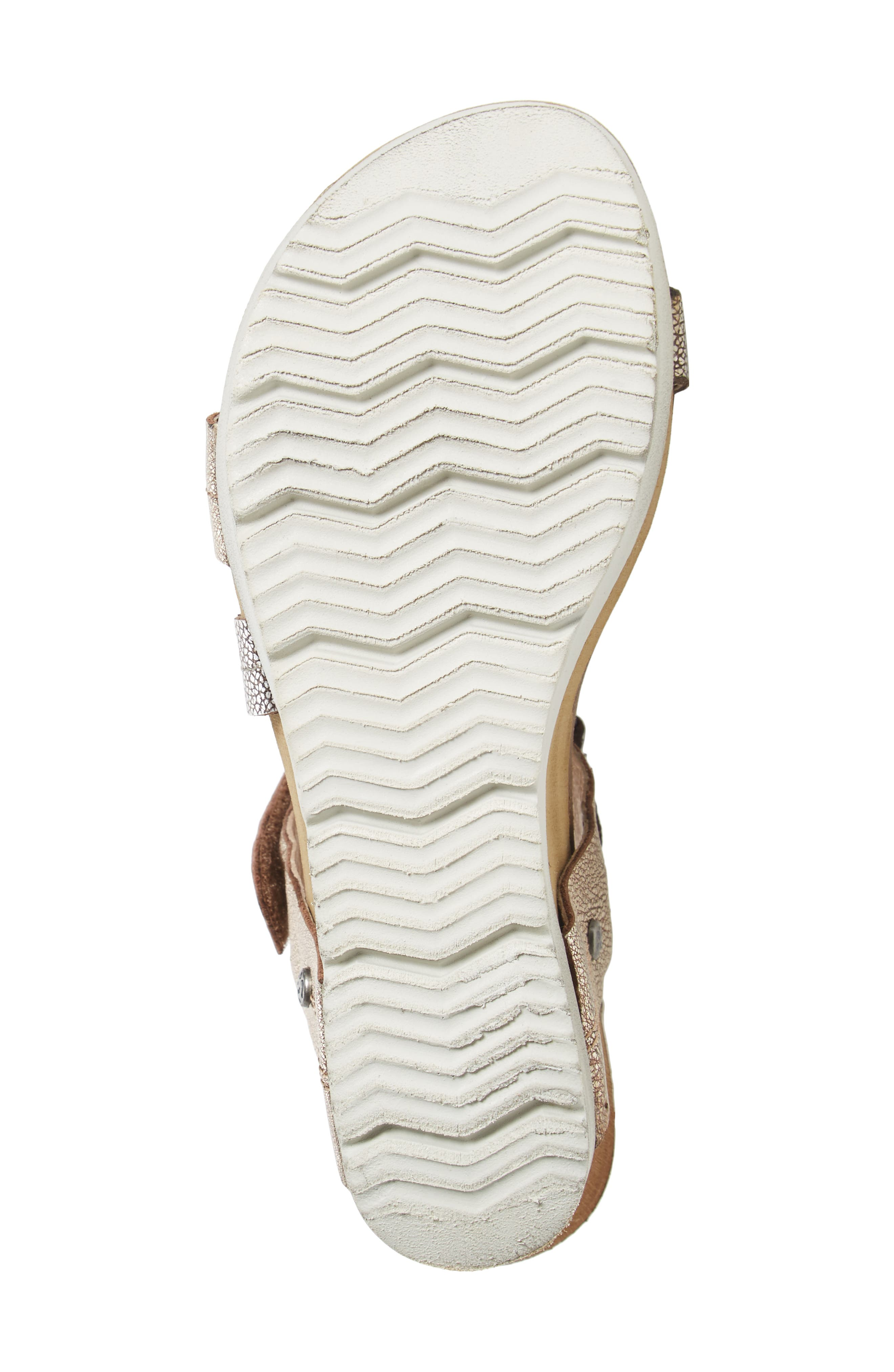 Wavey Wedge Sandal,                             Alternate thumbnail 4, color,                             Gold Leather
