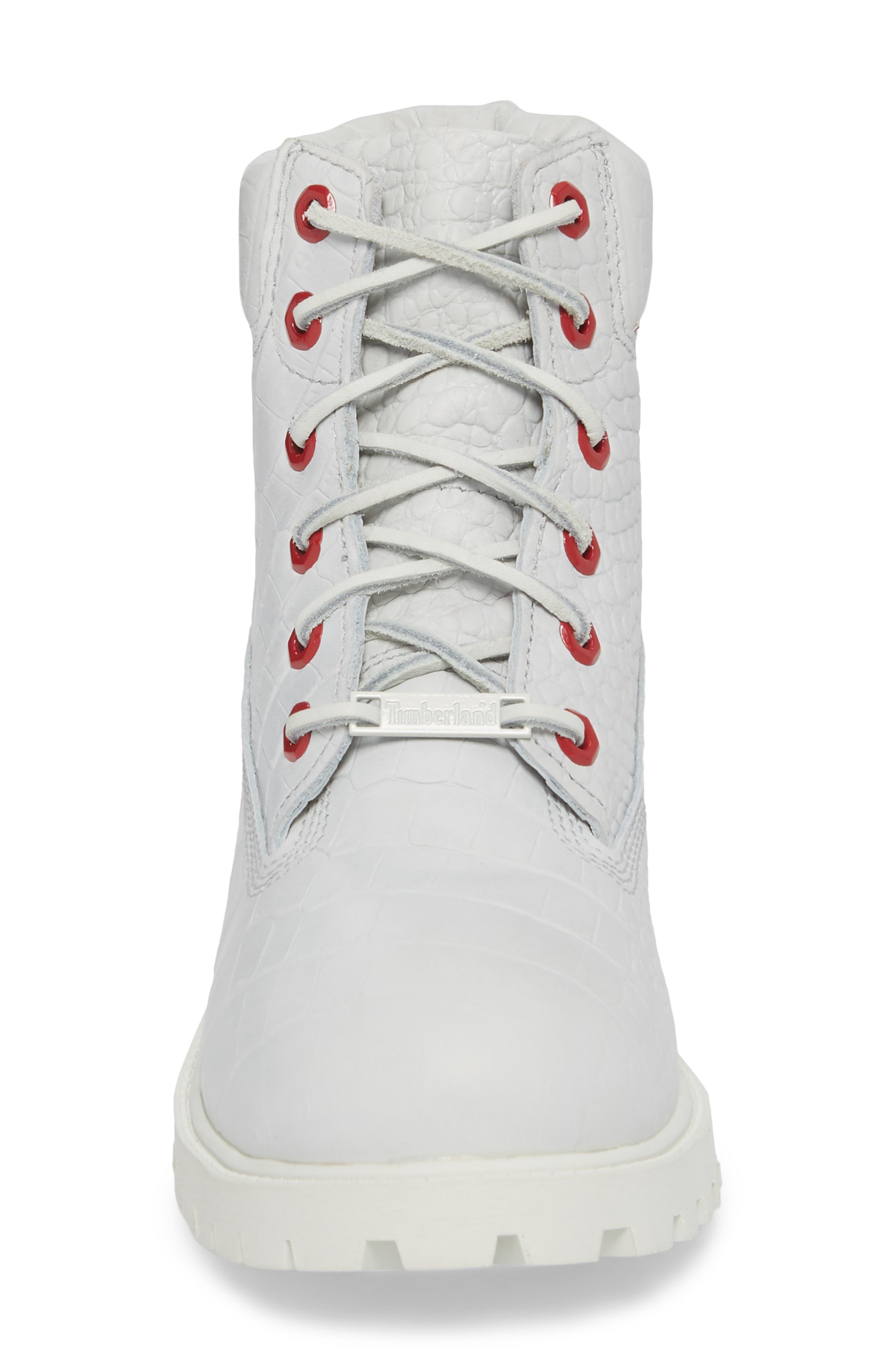6-Inch Premium Waterproof Boot,                             Alternate thumbnail 4, color,                             White Cardinal Exotic