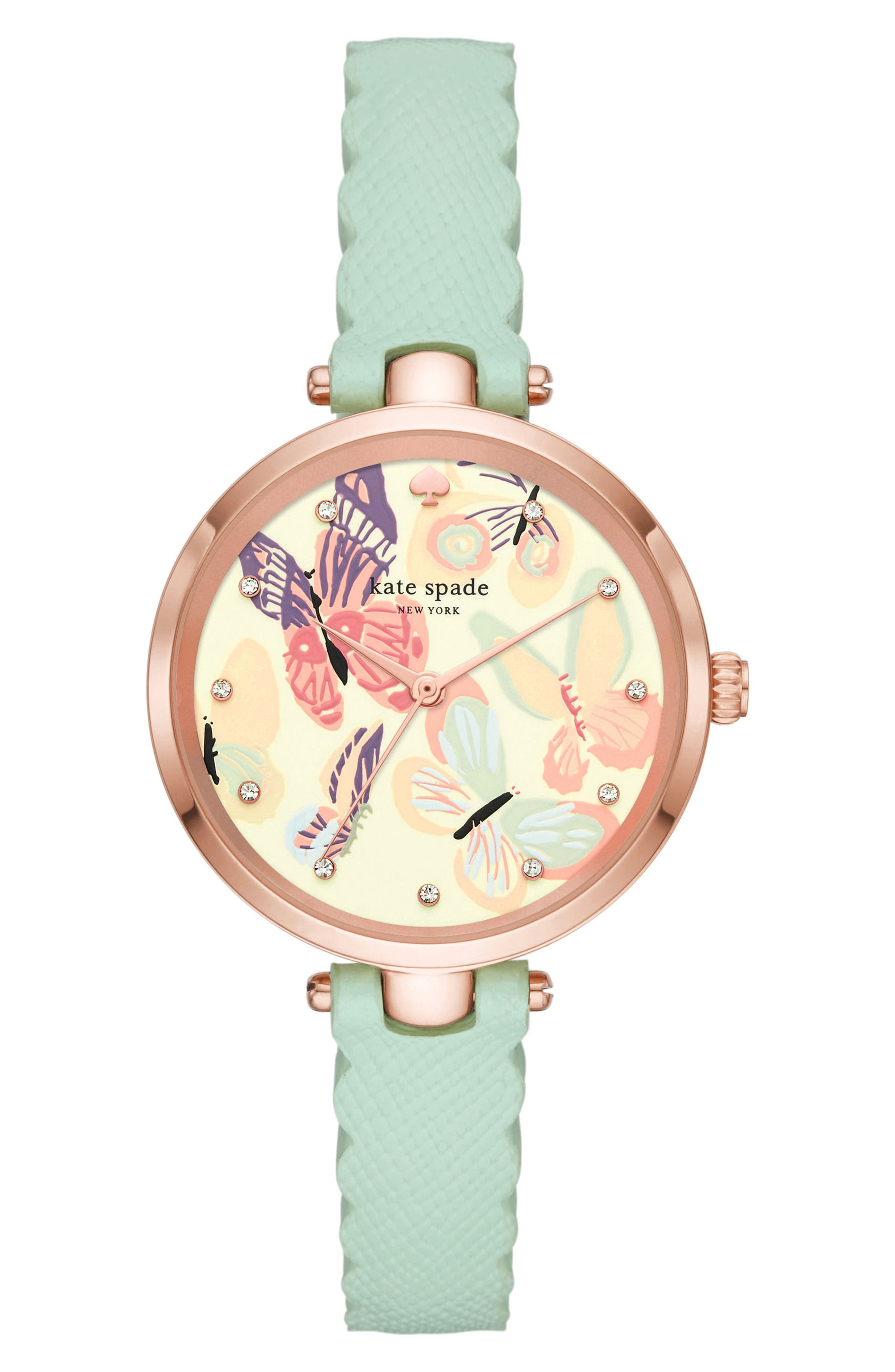 holland butterfly leather strap watch, 34mm,                             Main thumbnail 1, color,                             Green/ Blue/ Pink