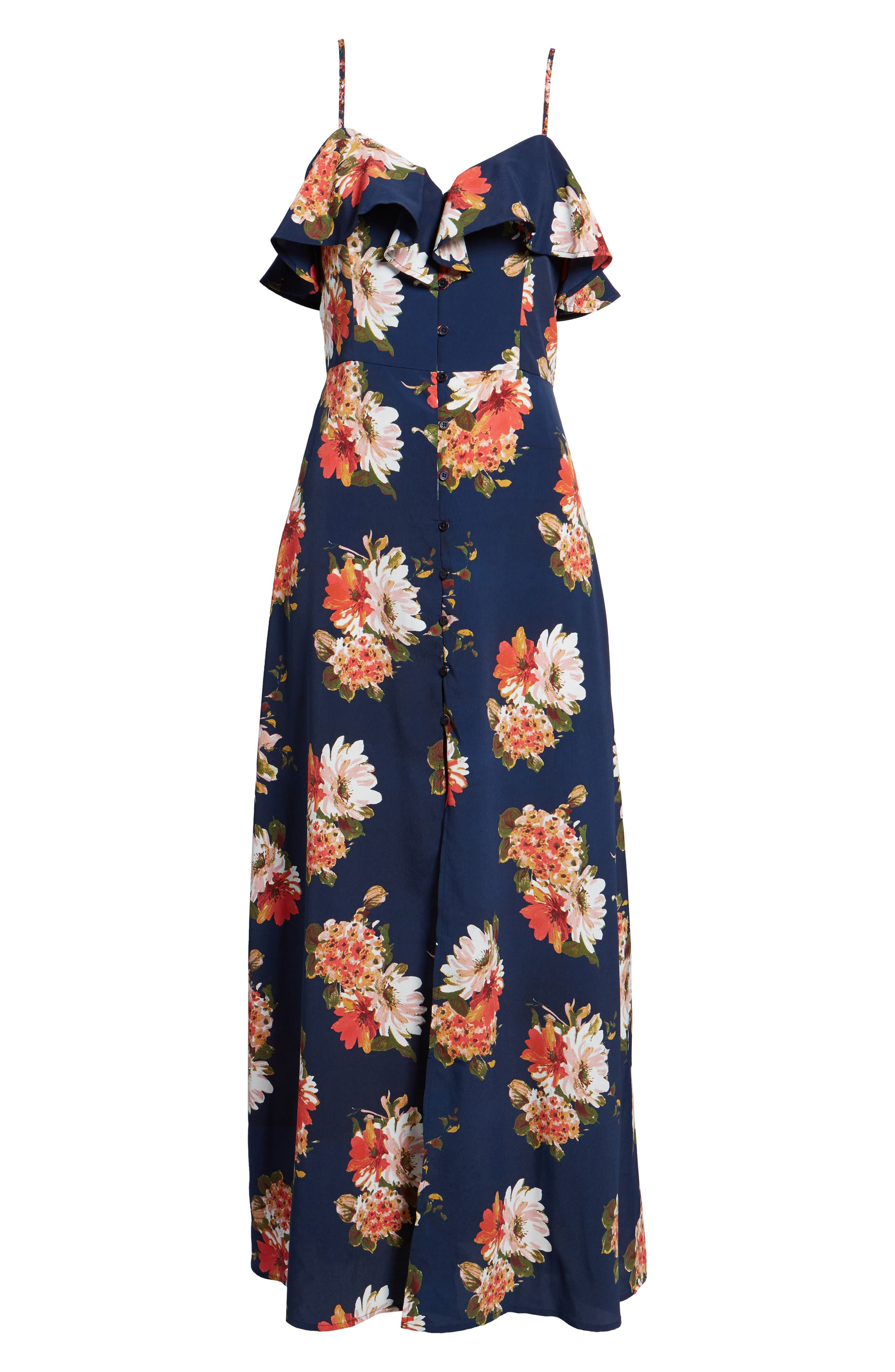Floral Maxi Dress,                             Alternate thumbnail 7, color,                             Navy Coral