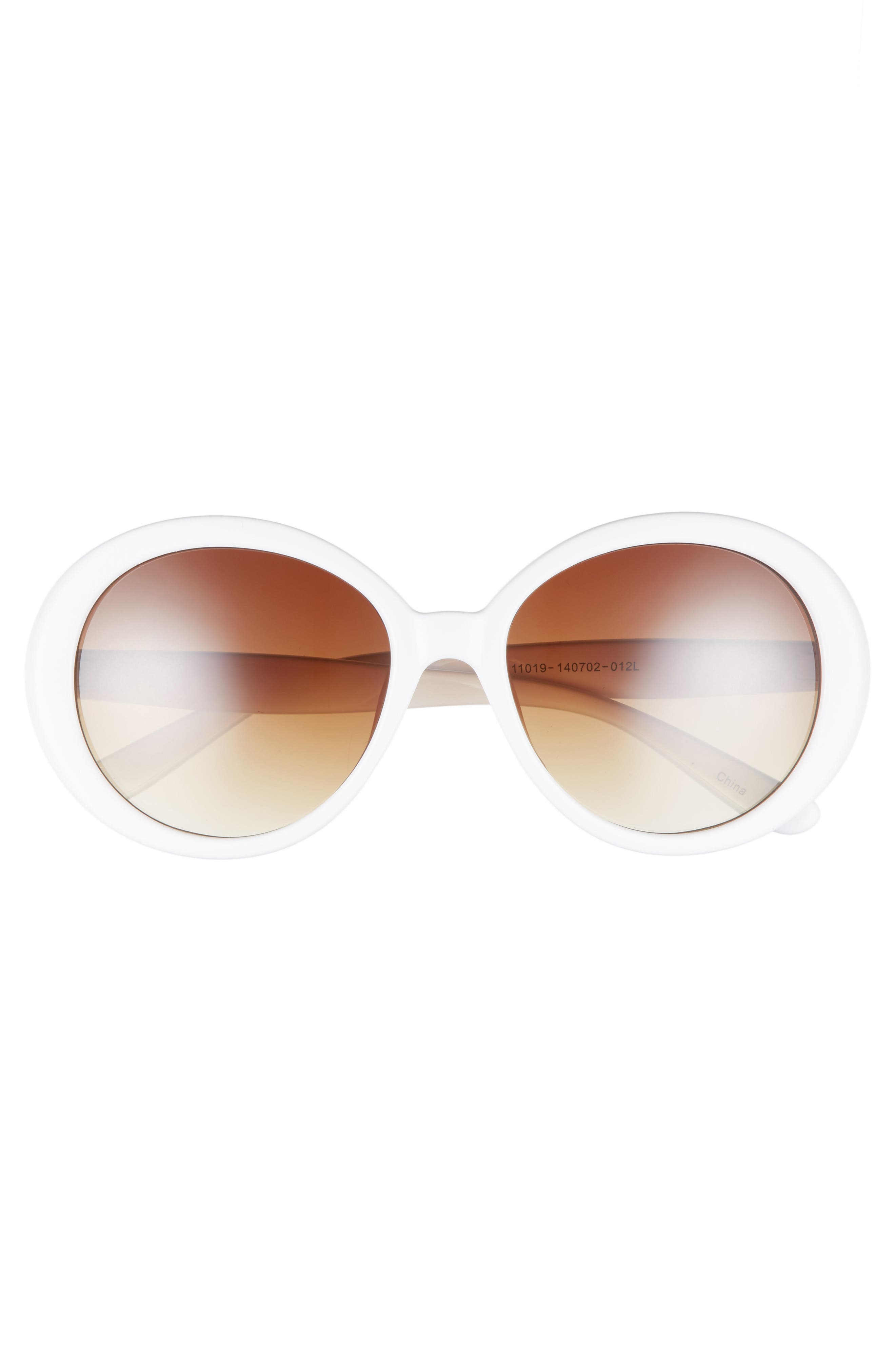 55mm Oval Sunglasses,                             Alternate thumbnail 3, color,                             Cream/ Brown