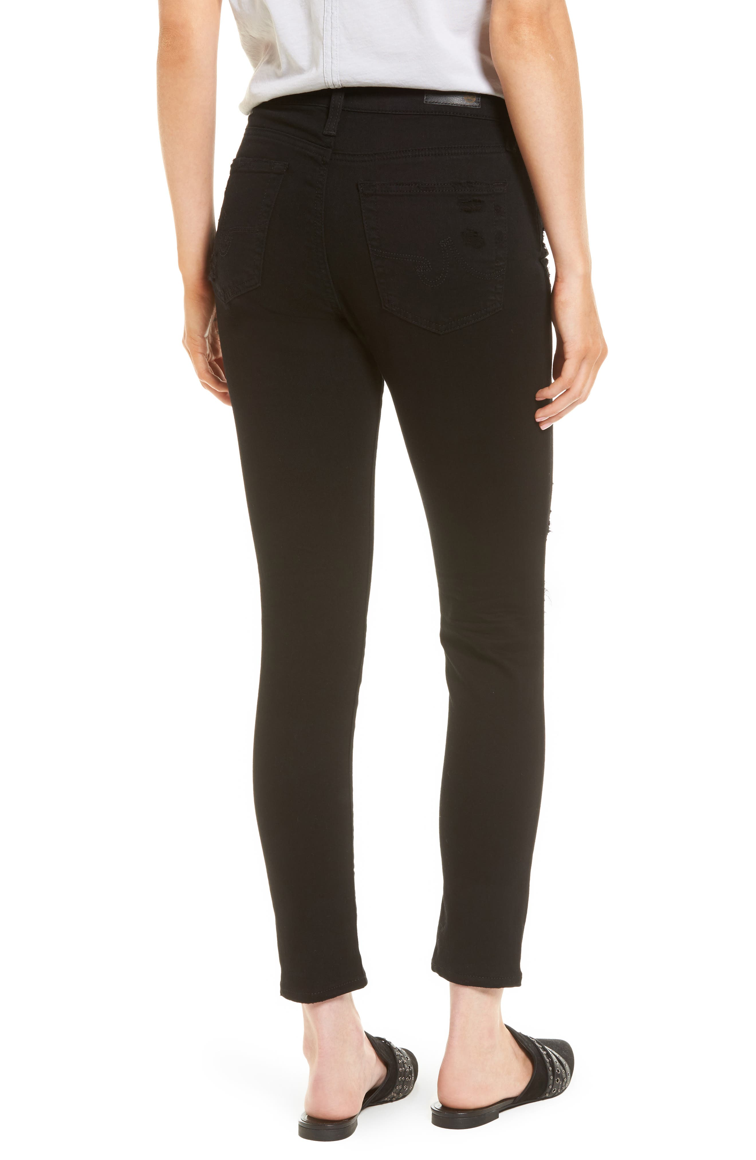 The Farrah High Waist Ankle Skinny Faux Leather Pants,                             Alternate thumbnail 2, color,                             5 Years Black Destructed