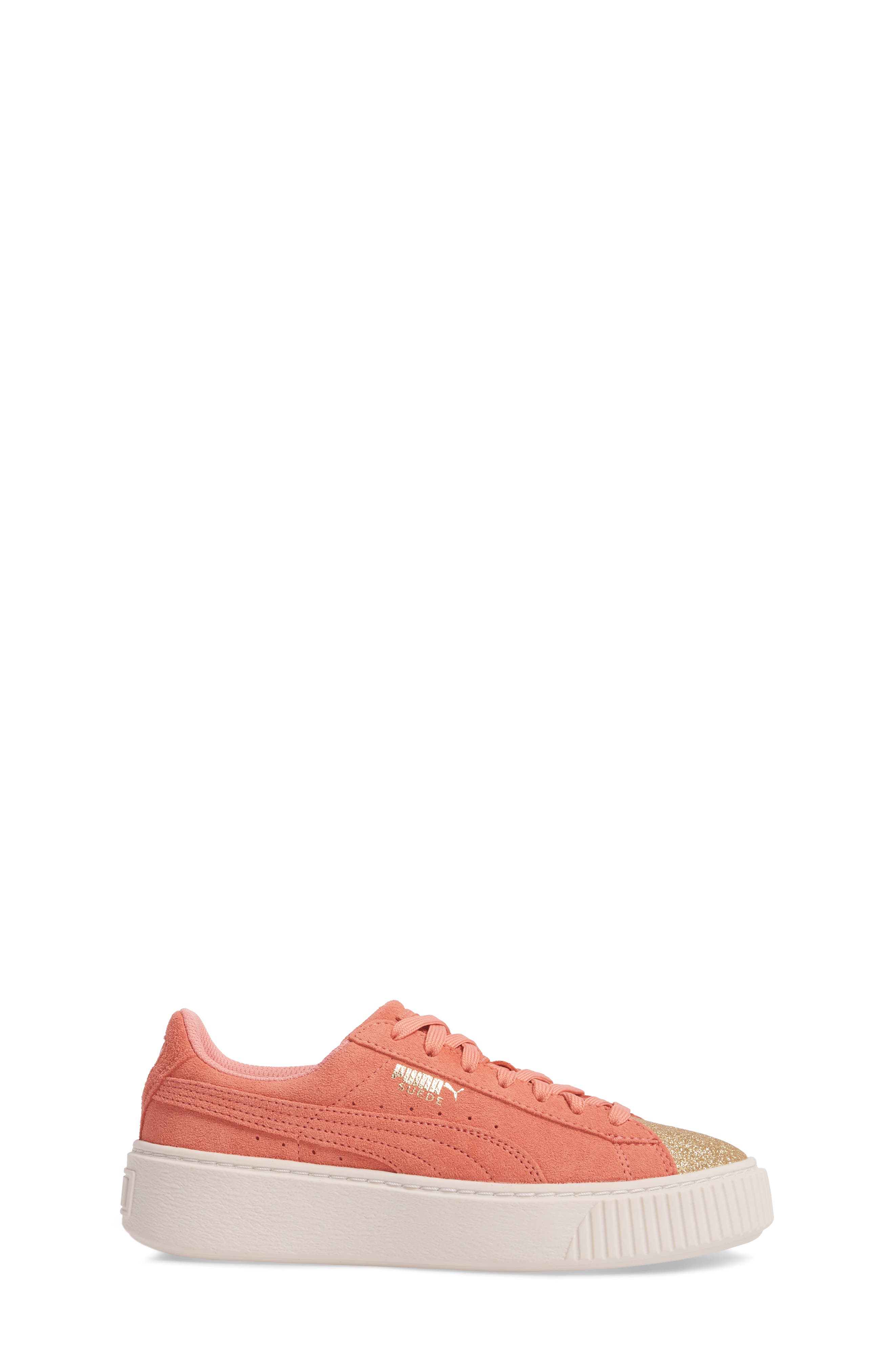Suede Platform Glam PS Sneaker,                             Alternate thumbnail 3, color,                             Puma Team Gold/ Shell Pink