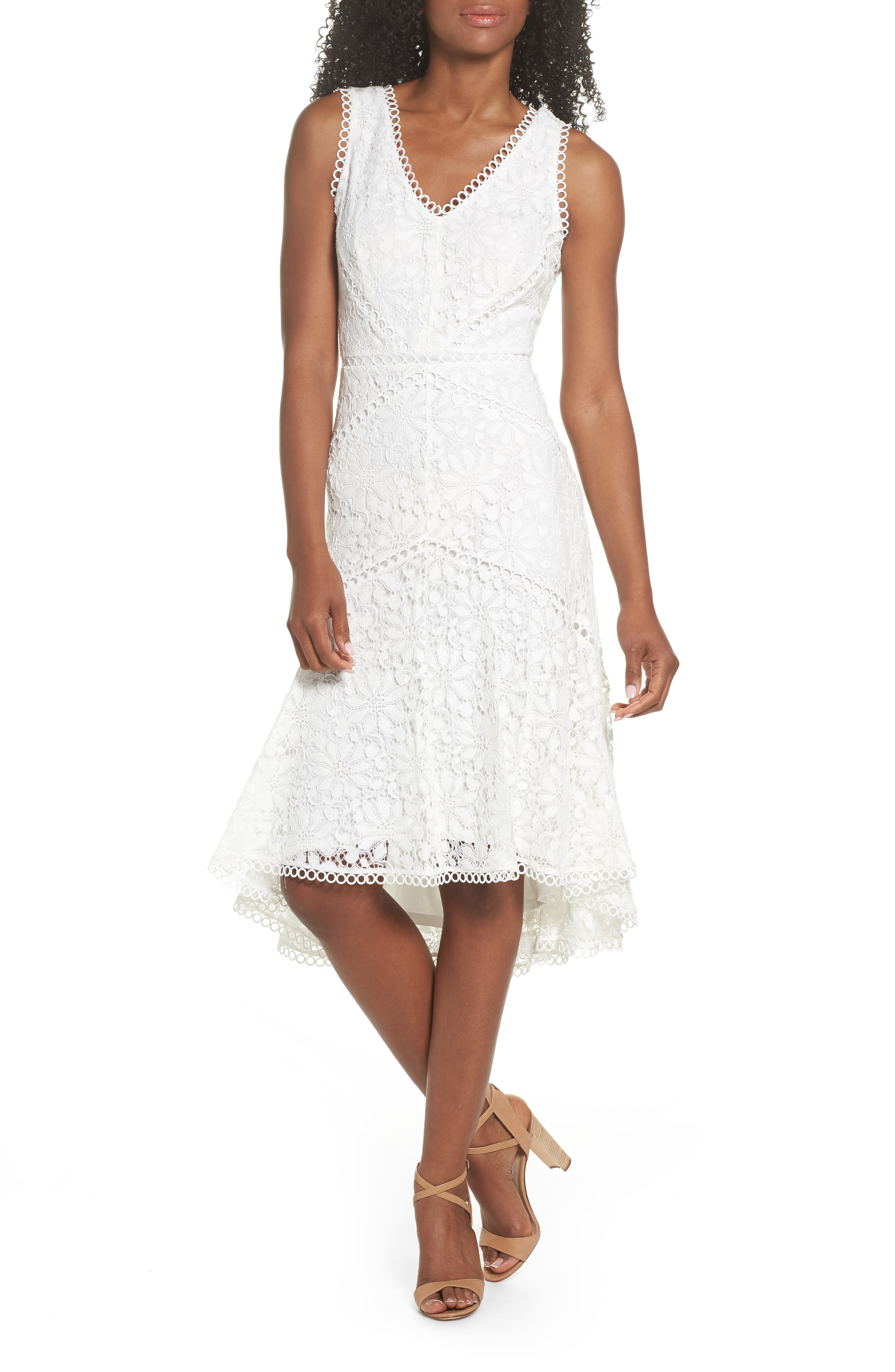 Lace Midi Dress,                         Main,                         color, Ivory