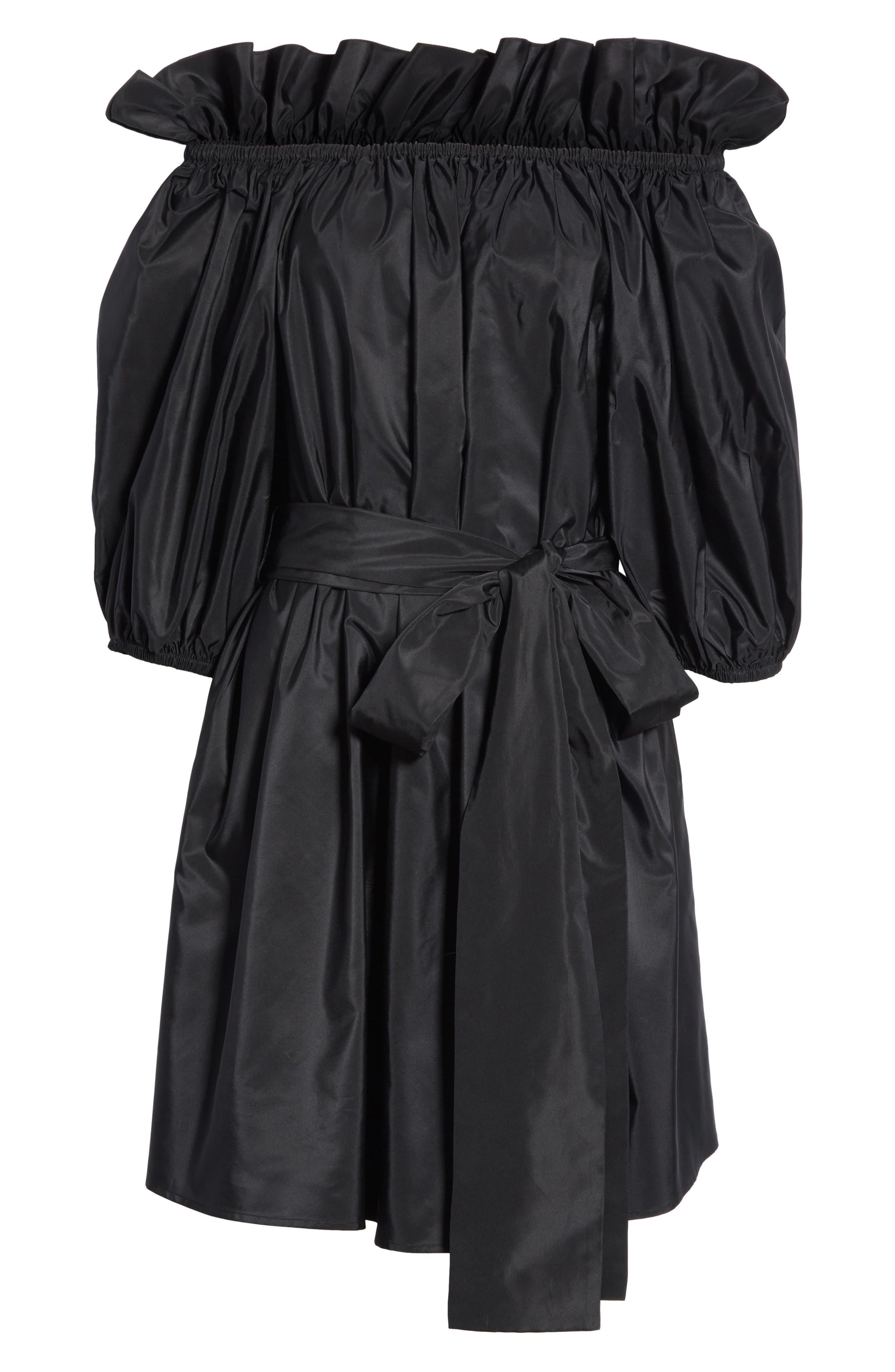 Belted Off the Shoulder Taffeta Dress,                             Alternate thumbnail 7, color,                             Black