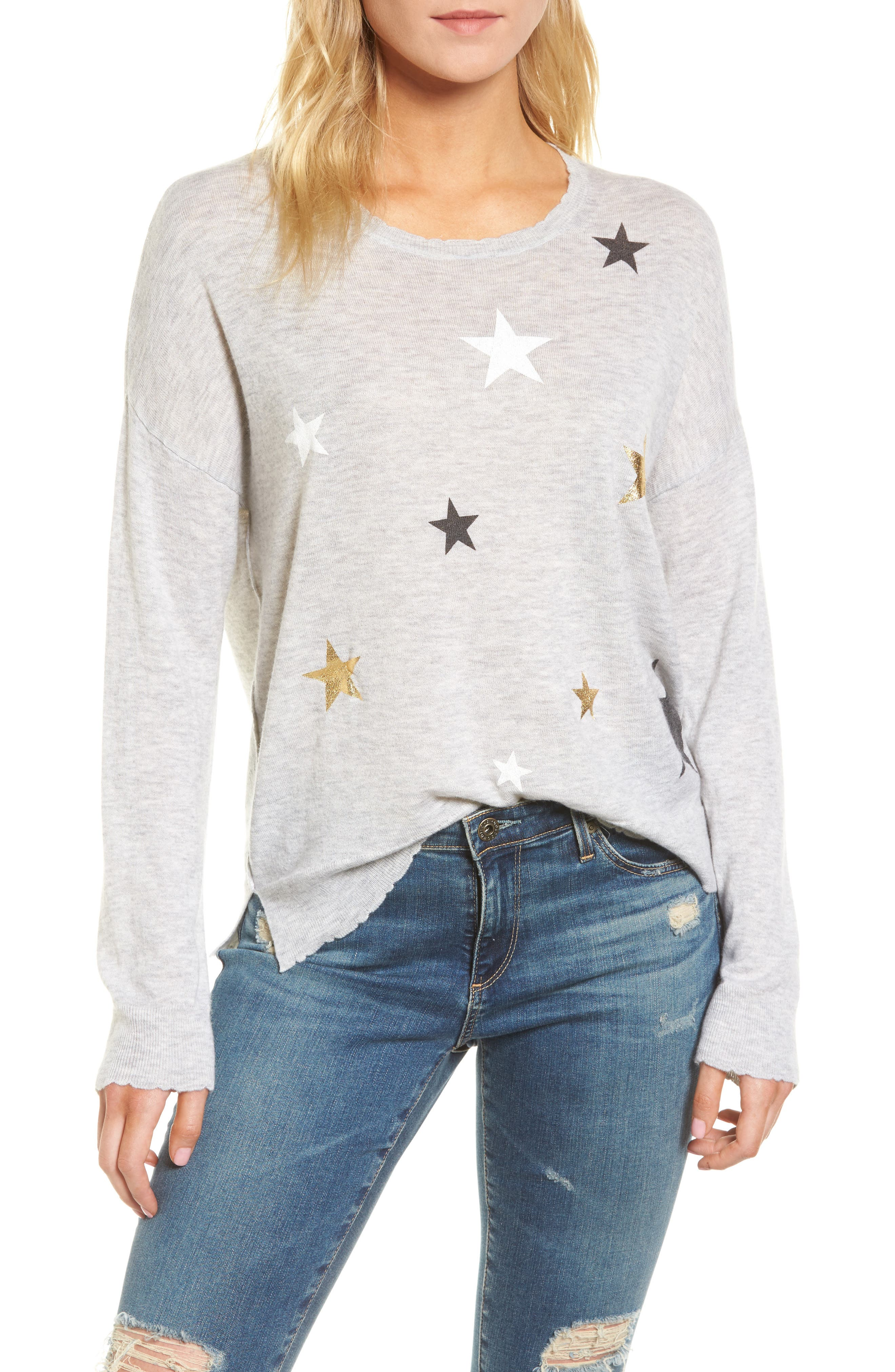 Stars Wool & Cashmere Sweater,                         Main,                         color, Heather Grey