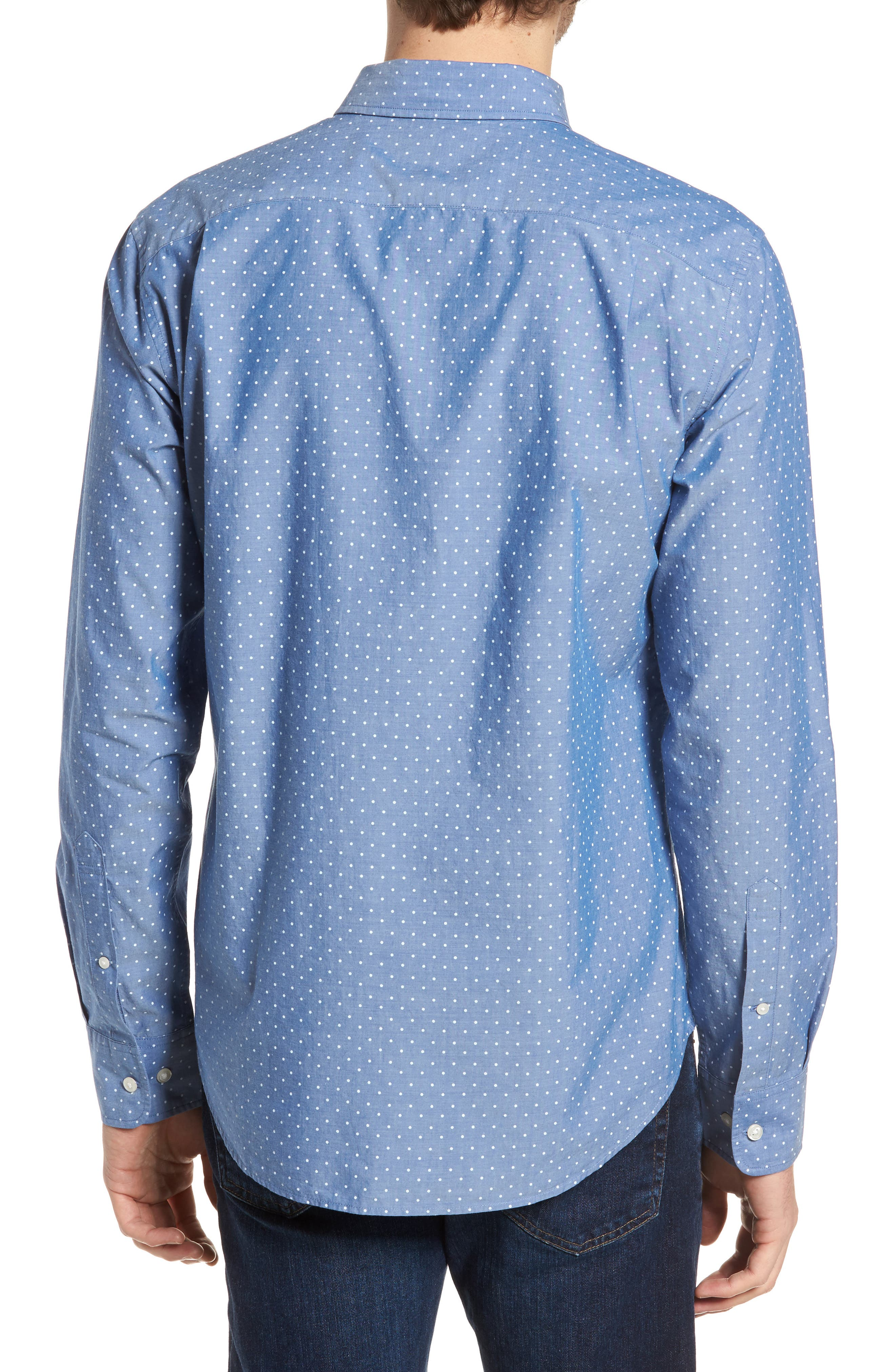 Slim Fit Summerweight Dot Sport Shirt,                             Alternate thumbnail 3, color,                             Galaxy Blue