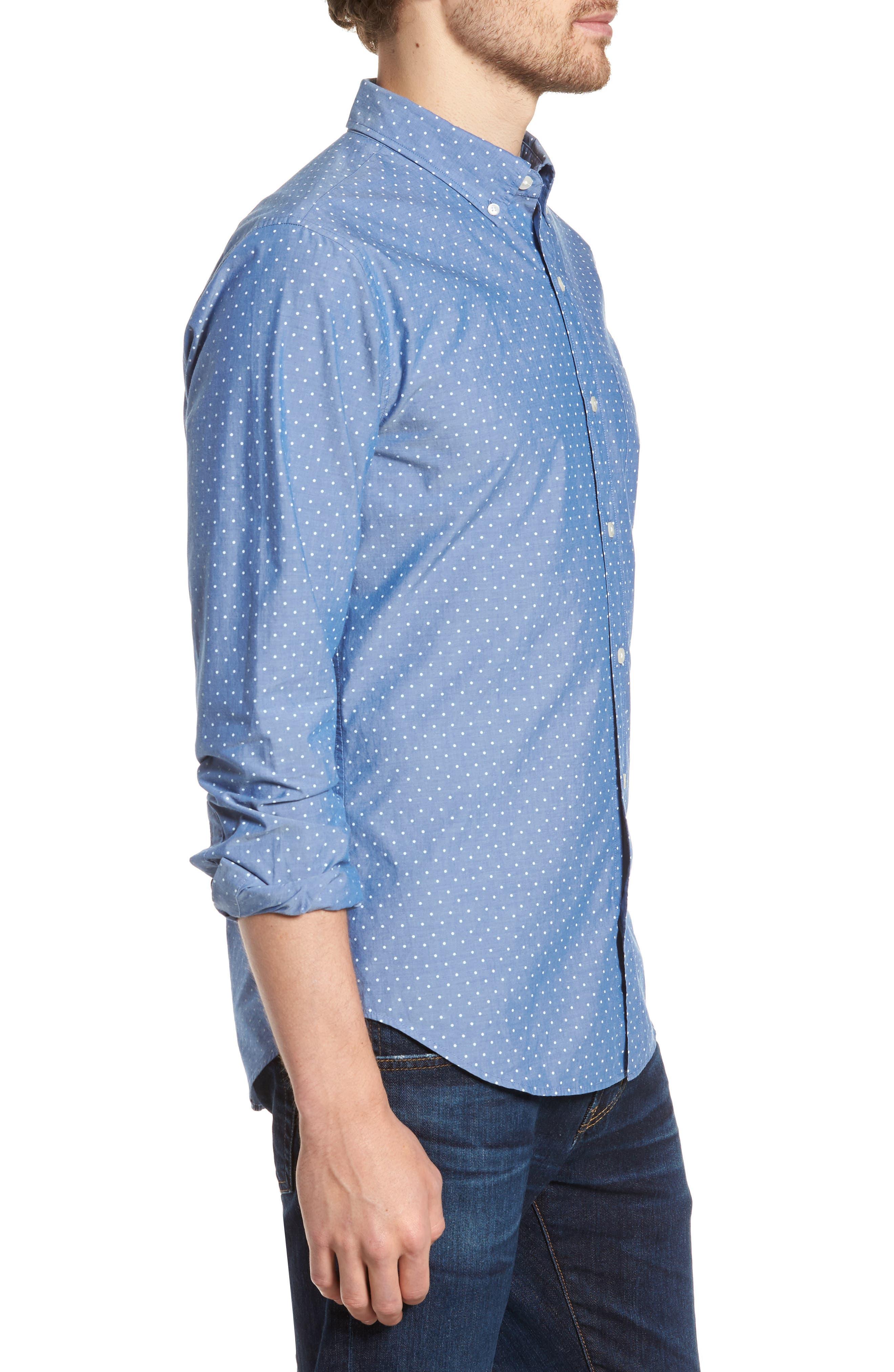 Slim Fit Summerweight Dot Sport Shirt,                             Alternate thumbnail 4, color,                             Galaxy Blue