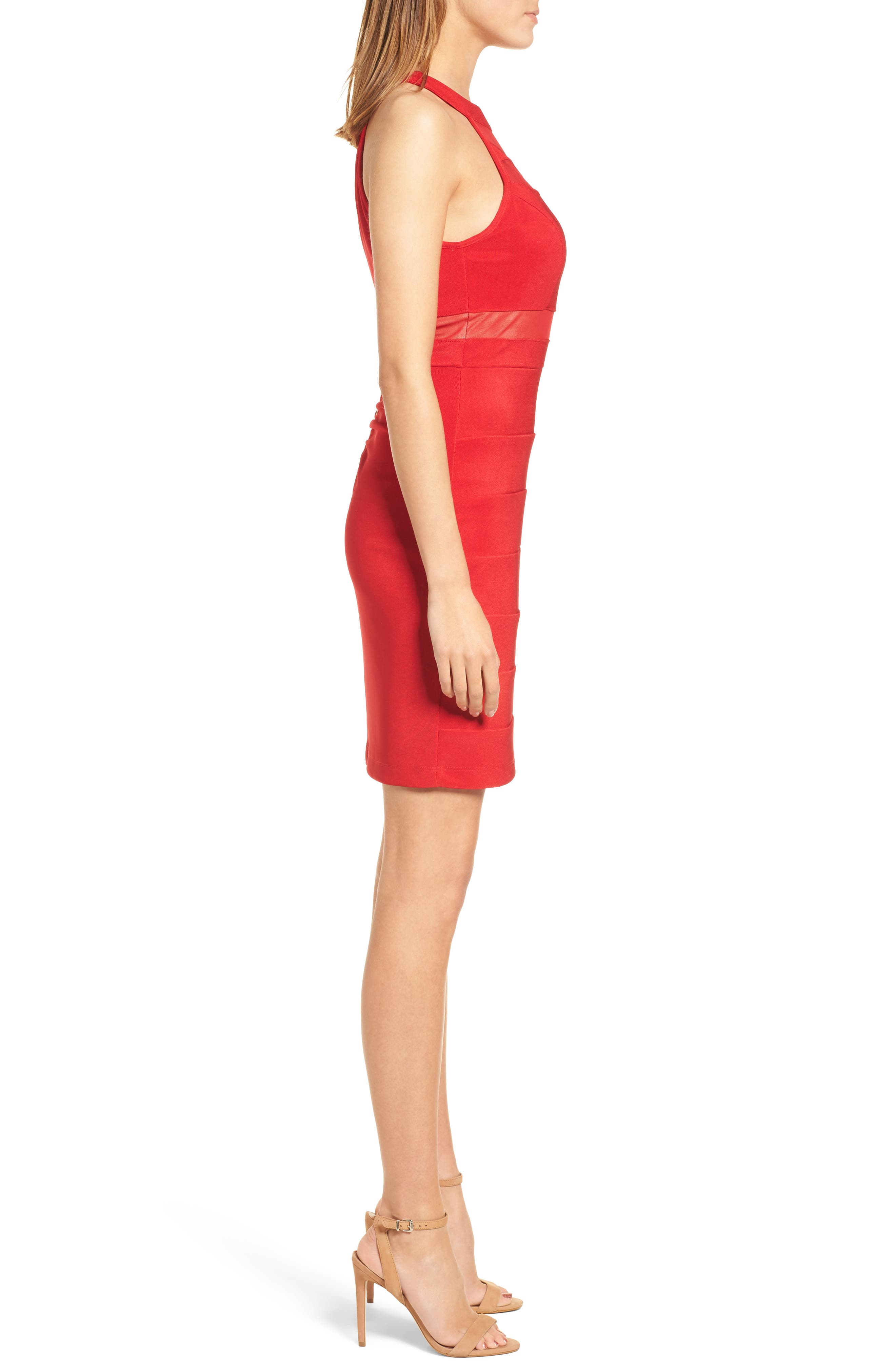 Illusion Body-Con Dress,                             Alternate thumbnail 3, color,                             Red