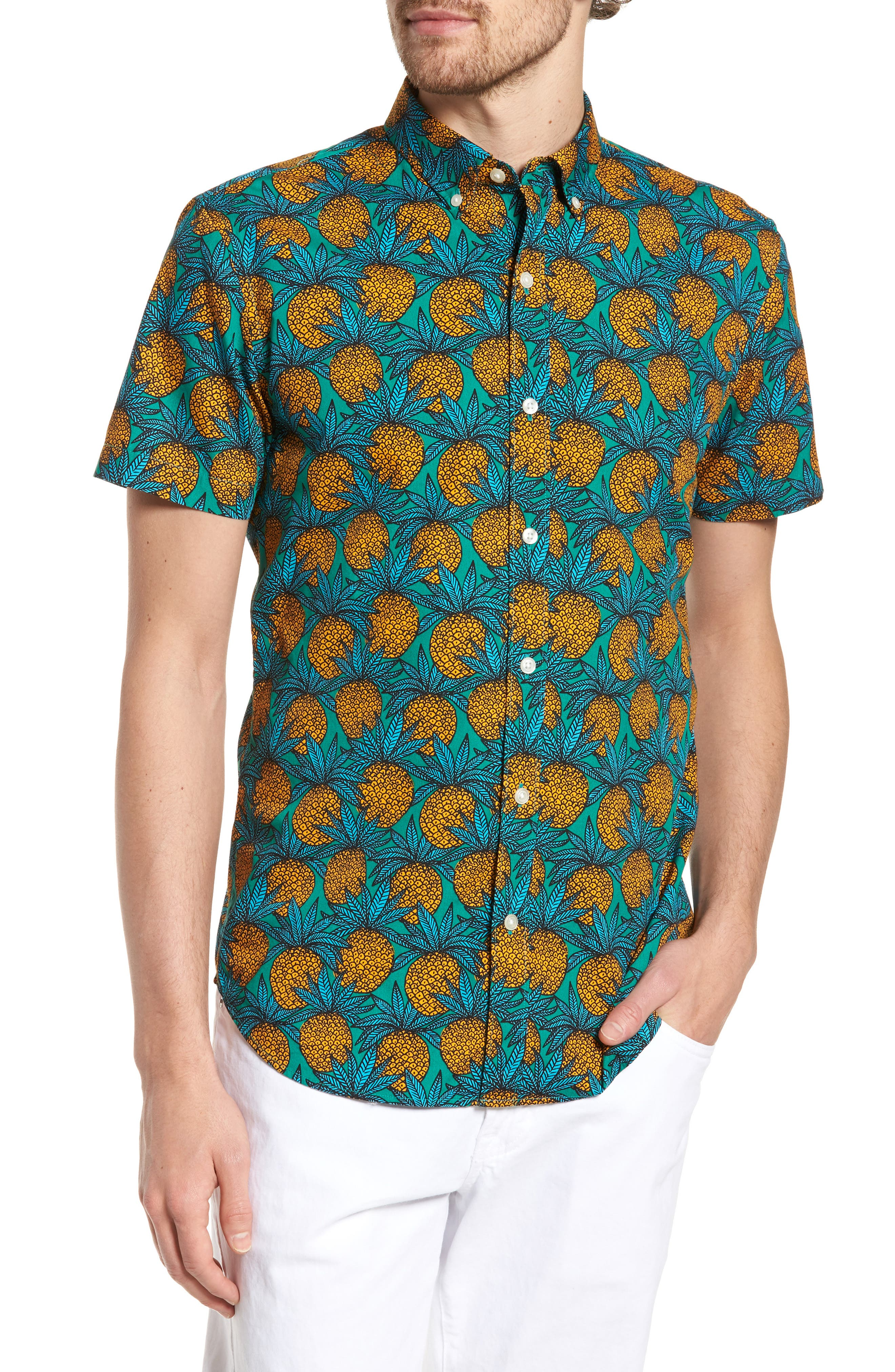 Slim Fit Print Short Sleeve Sport Shirt,                         Main,                         color, Pineapple Fields - Lush Meadow