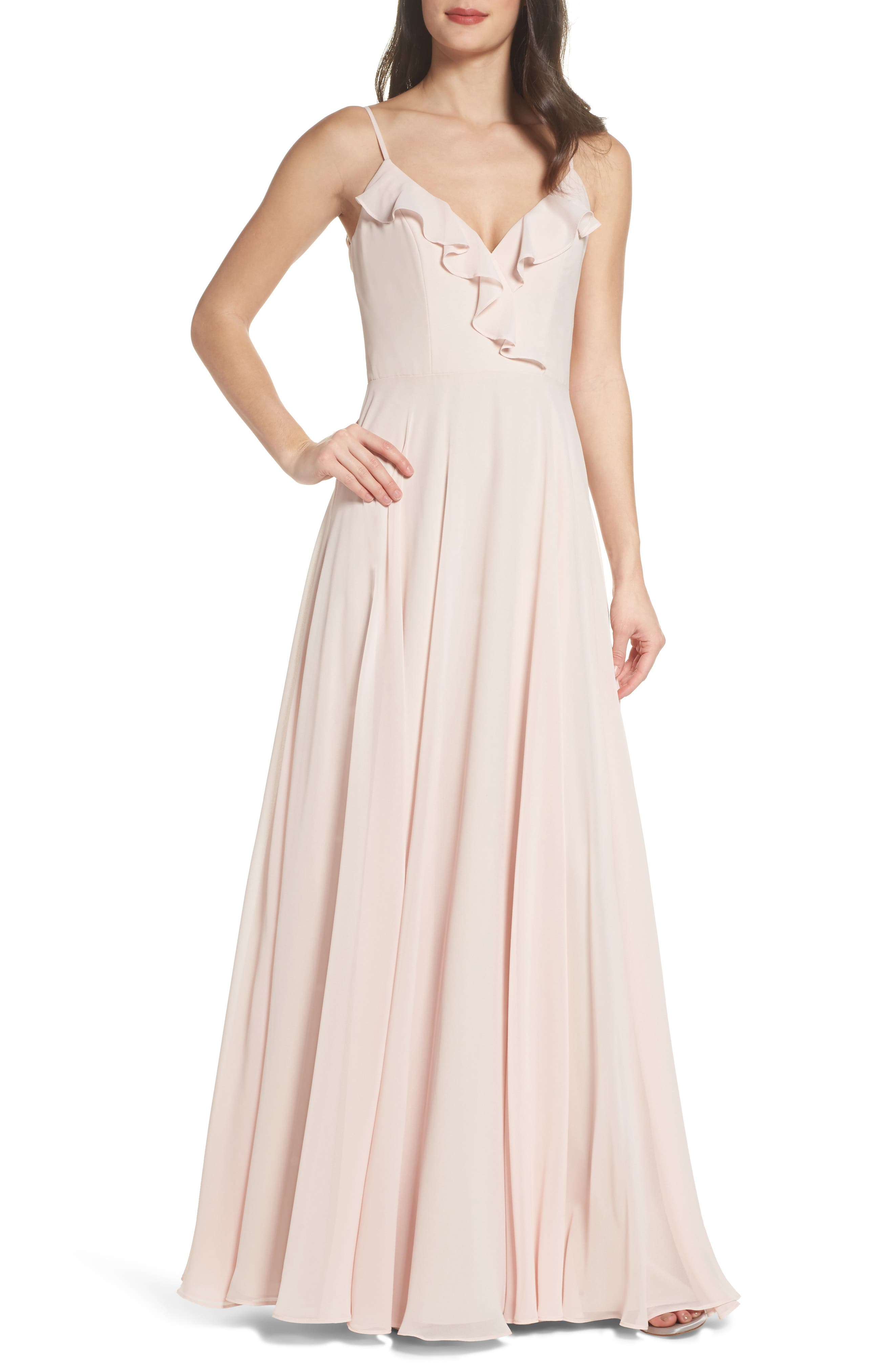 Hayley Paige Occasions Ruffle Chiffon Gown
