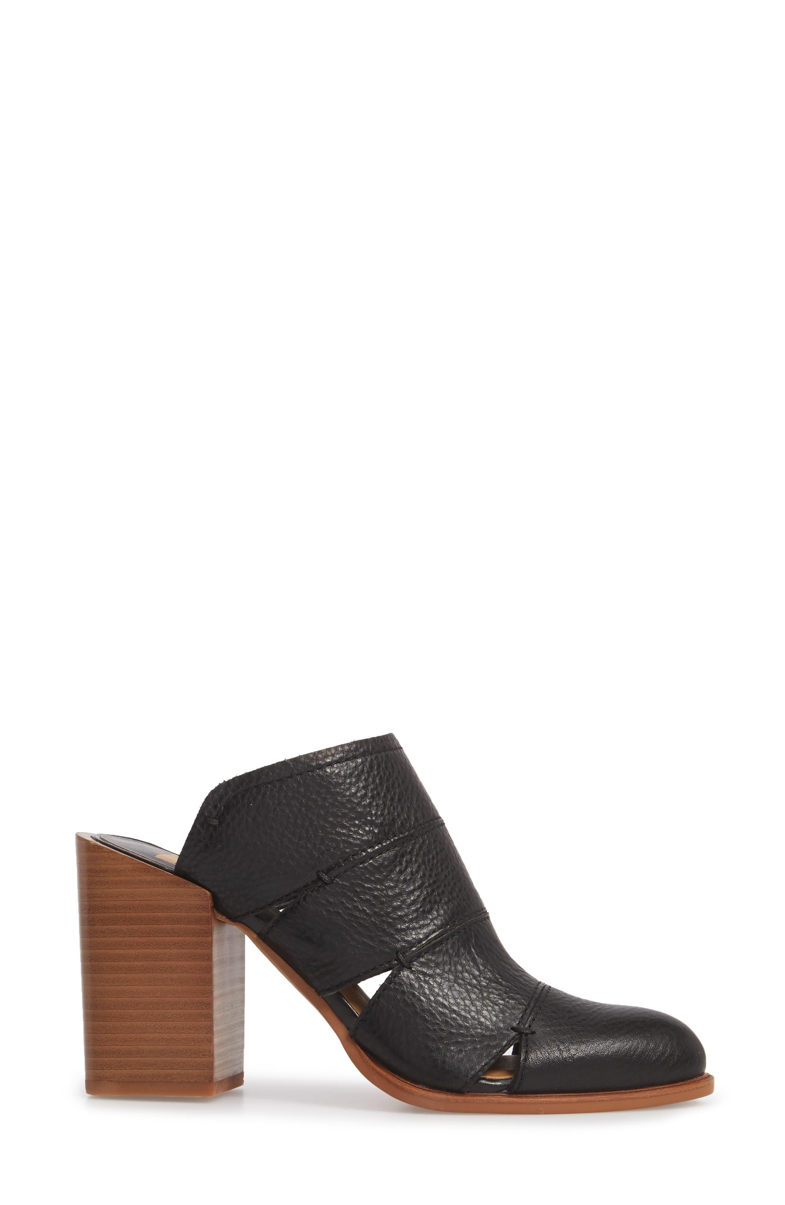 Makeo Mule,                             Alternate thumbnail 3, color,                             Black Leather