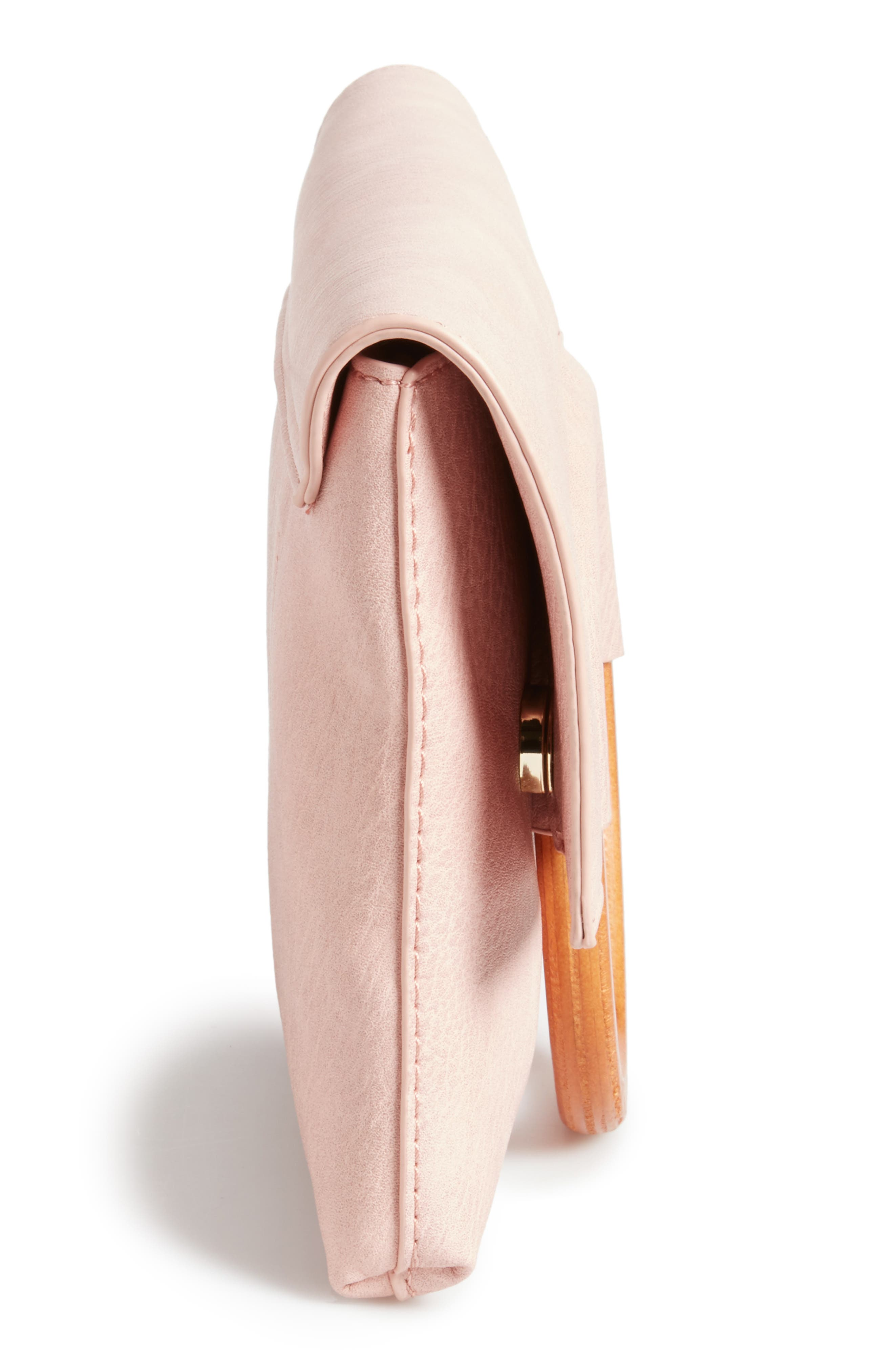 Faux Leather Circle Clutch,                             Alternate thumbnail 5, color,                             Pink