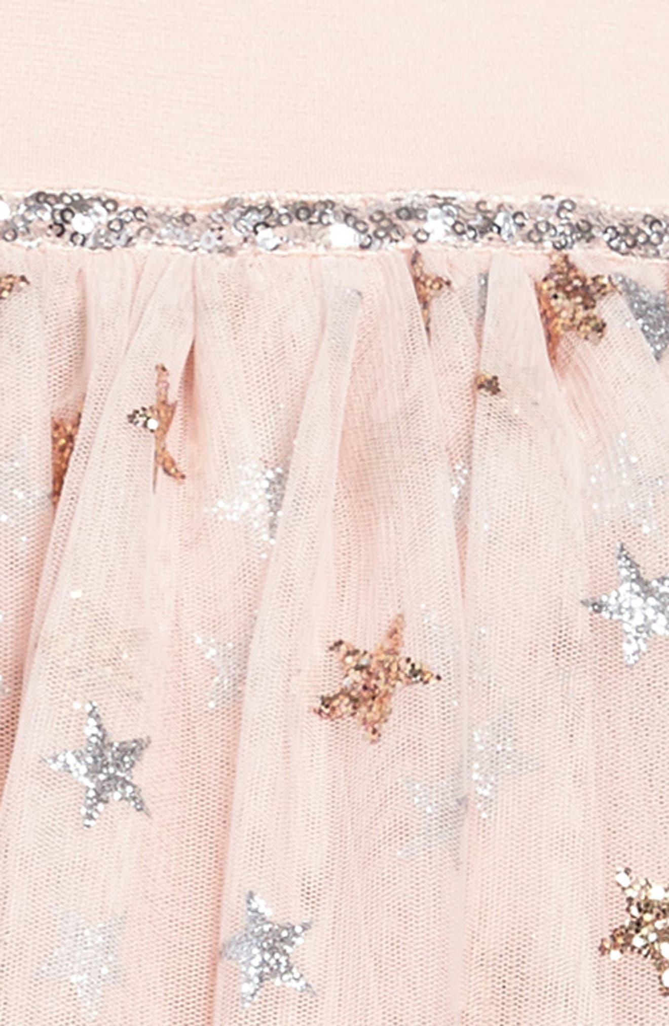 Glitter Star Ponte & Tulle Dress,                             Alternate thumbnail 3, color,                             Blush