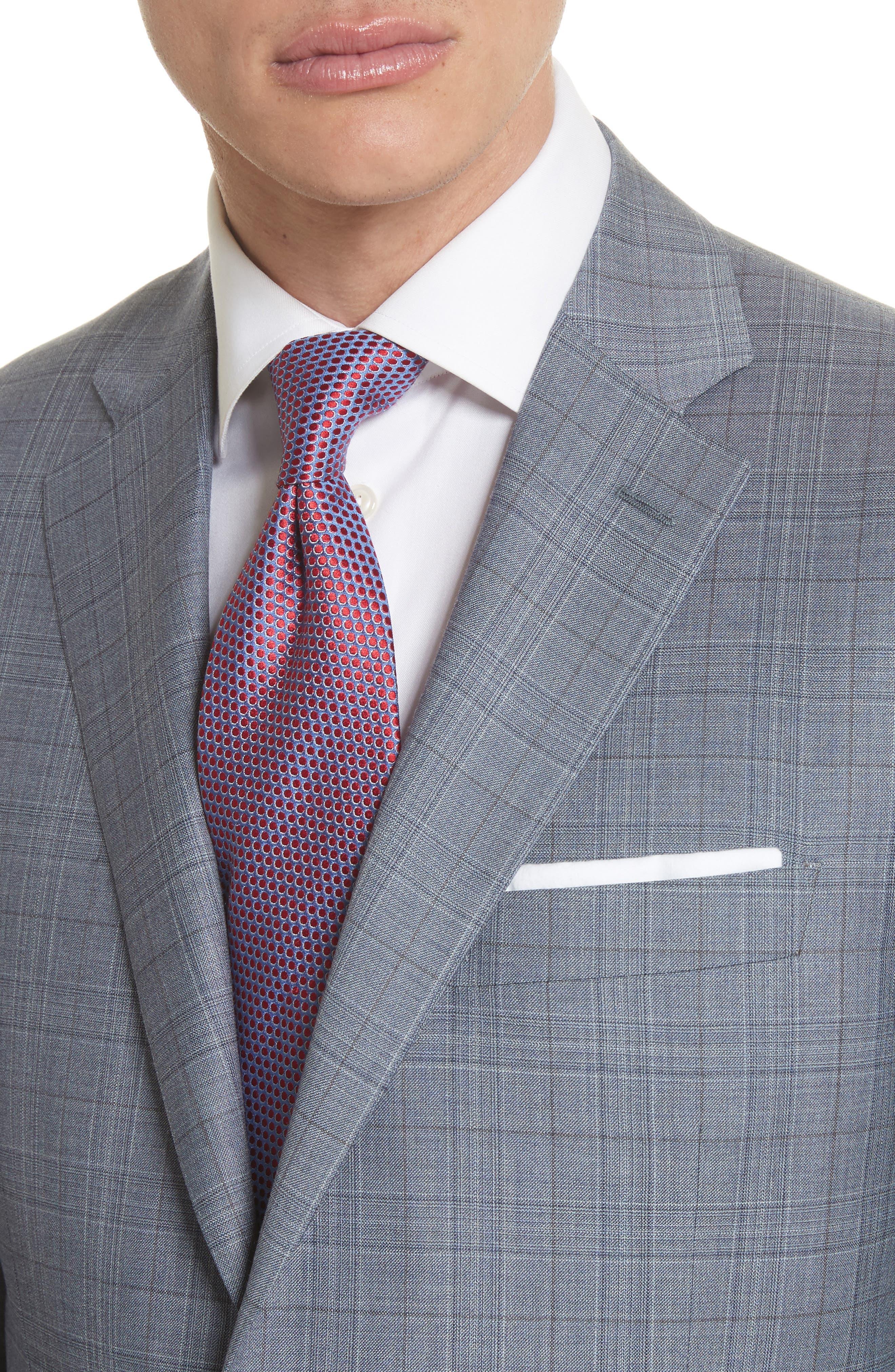 Classic Fit Plaid Wool Suit,                             Alternate thumbnail 4, color,                             Blue