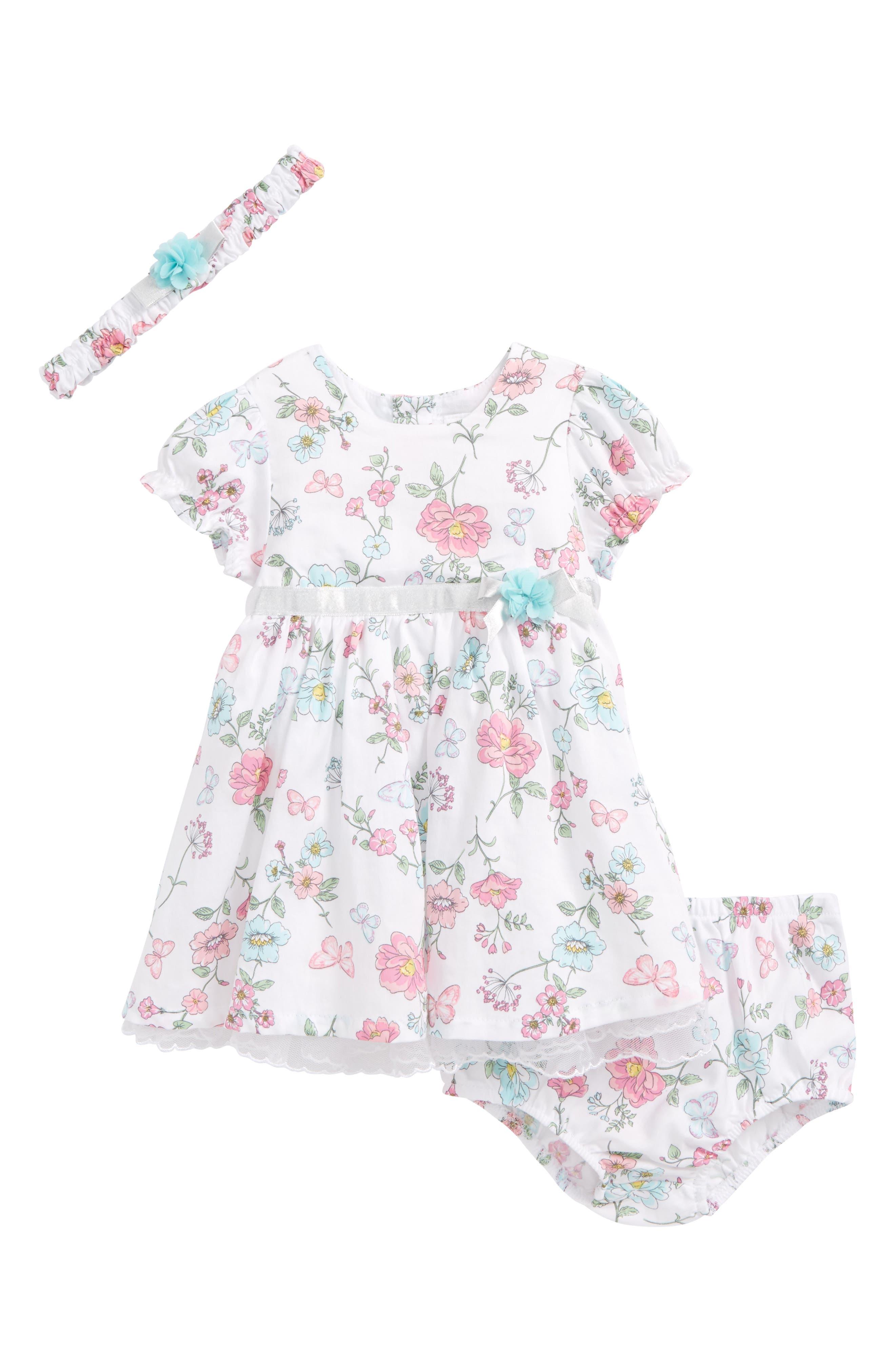 Little Me Botanical Print Dress & Headband Set (Baby Girls)