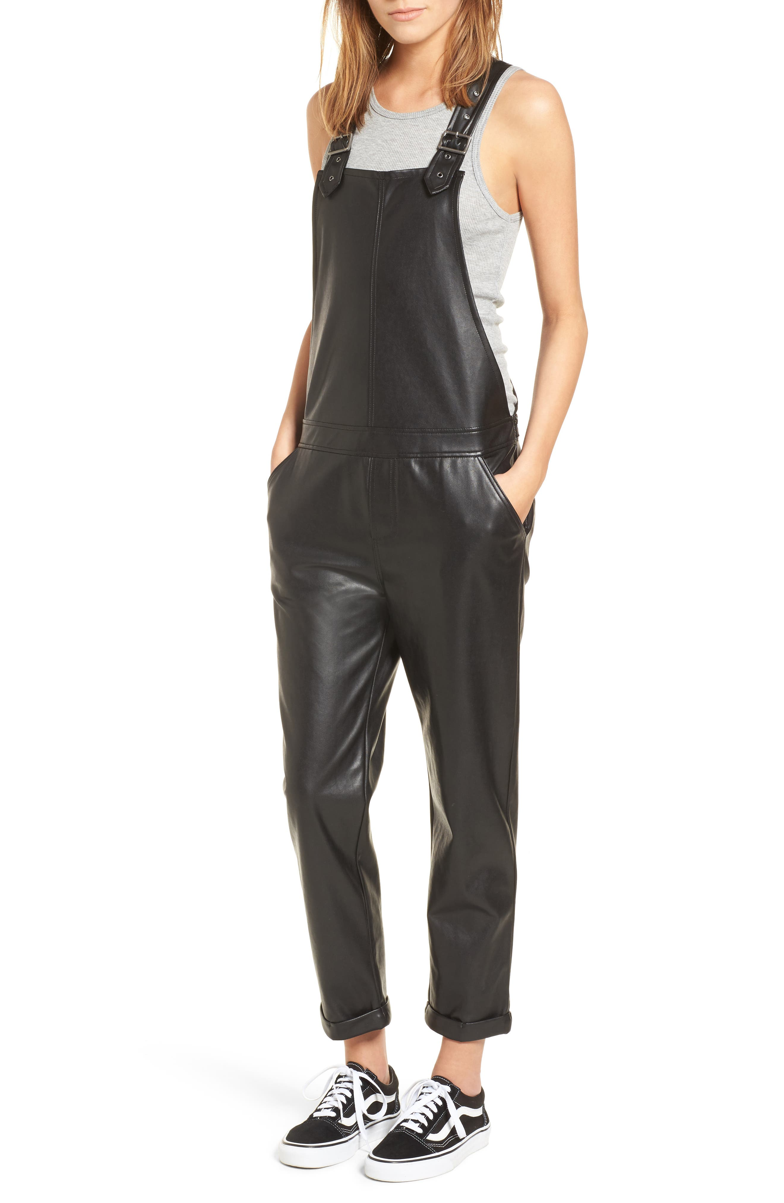 Faux Leather Overalls,                             Main thumbnail 1, color,                             Black