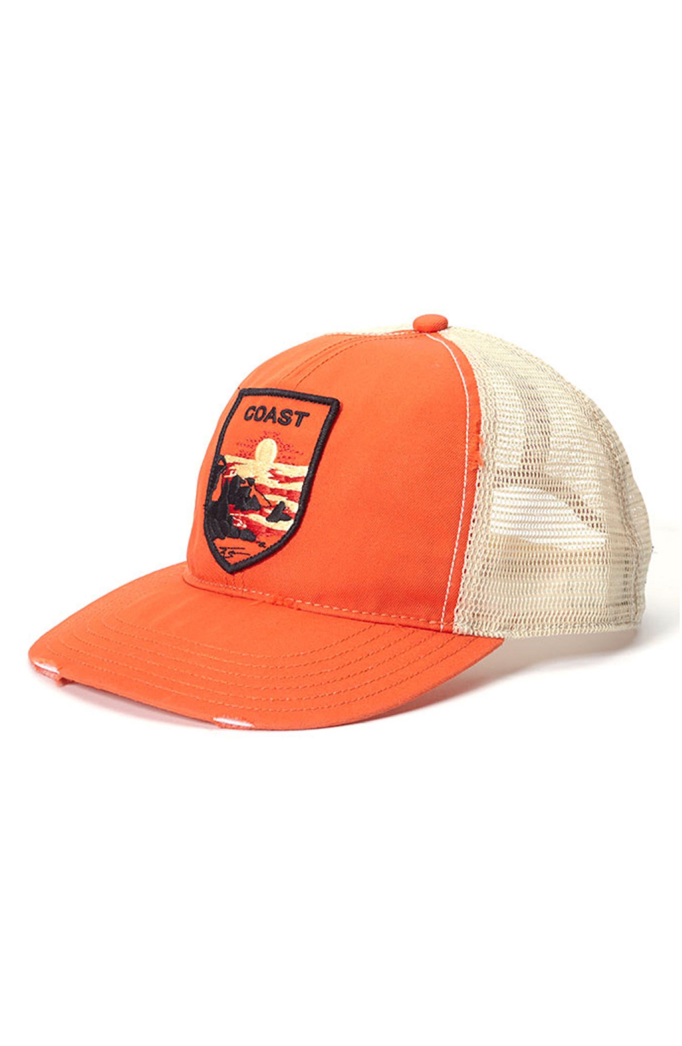 Coast Out Trucker Hat,                             Main thumbnail 1, color,                             Orange