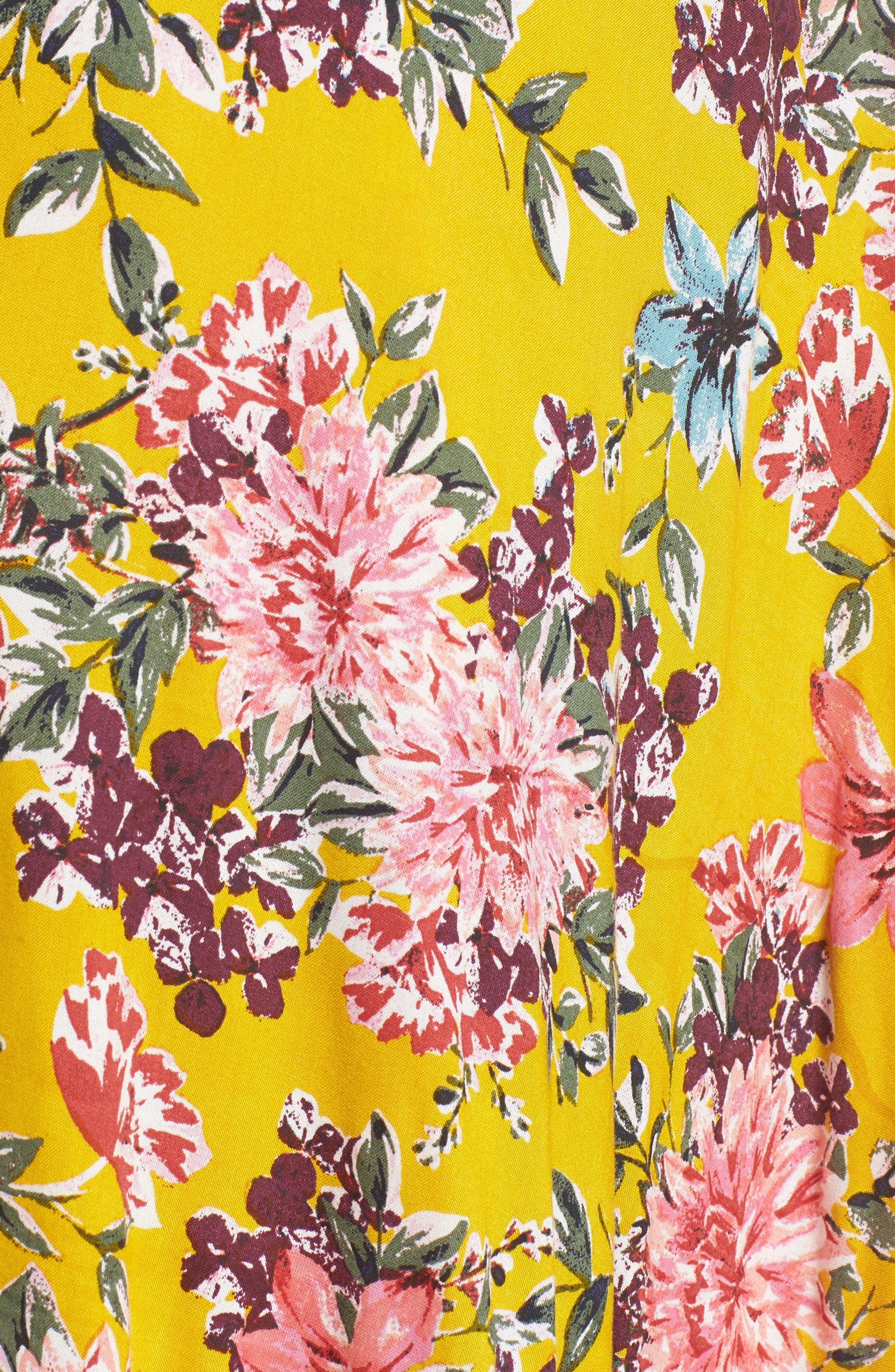 Chrysanthemum Wrap Front Dress,                             Alternate thumbnail 5, color,                             Mustard/ Pink