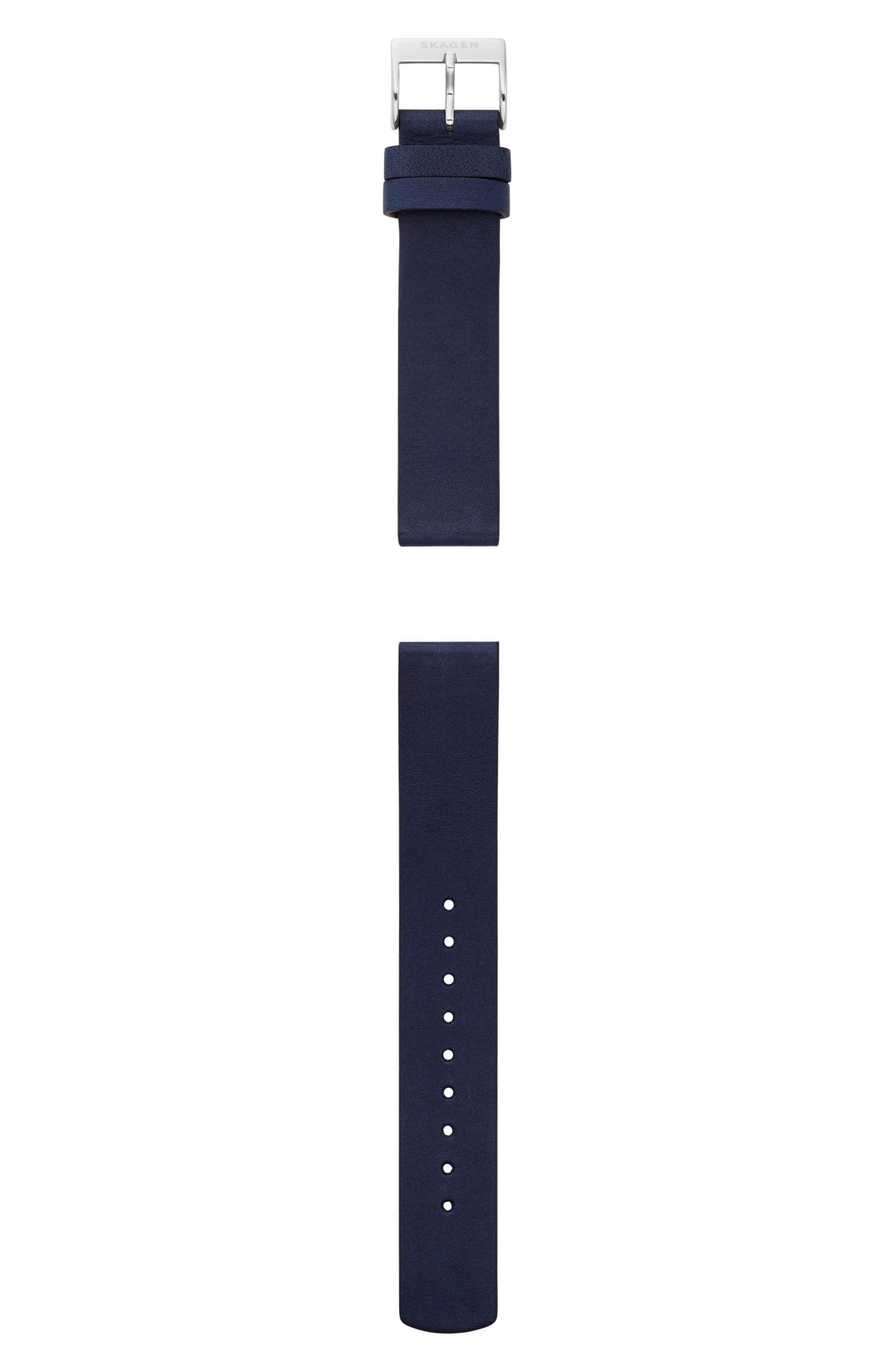 Alternate Image 1 Selected - Skagen Leather Watch Strap, 16mm