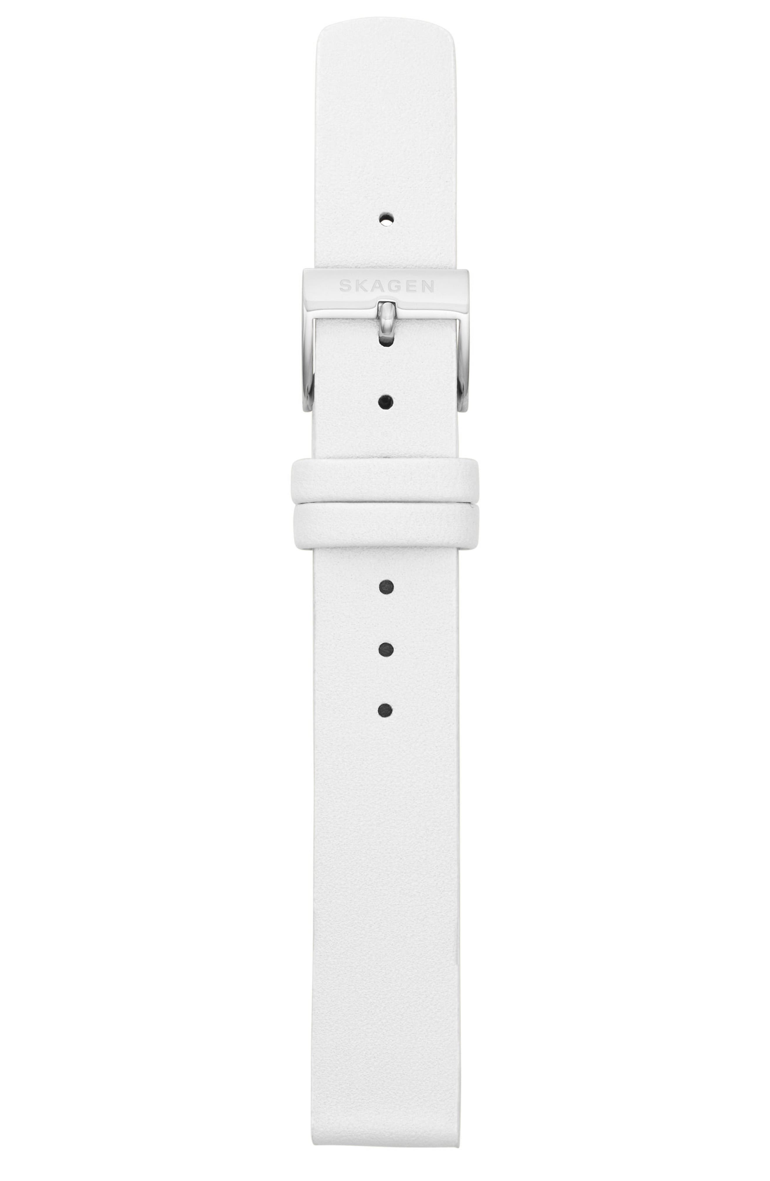 Leather Watch Strap, 14mm,                             Alternate thumbnail 2, color,                             White