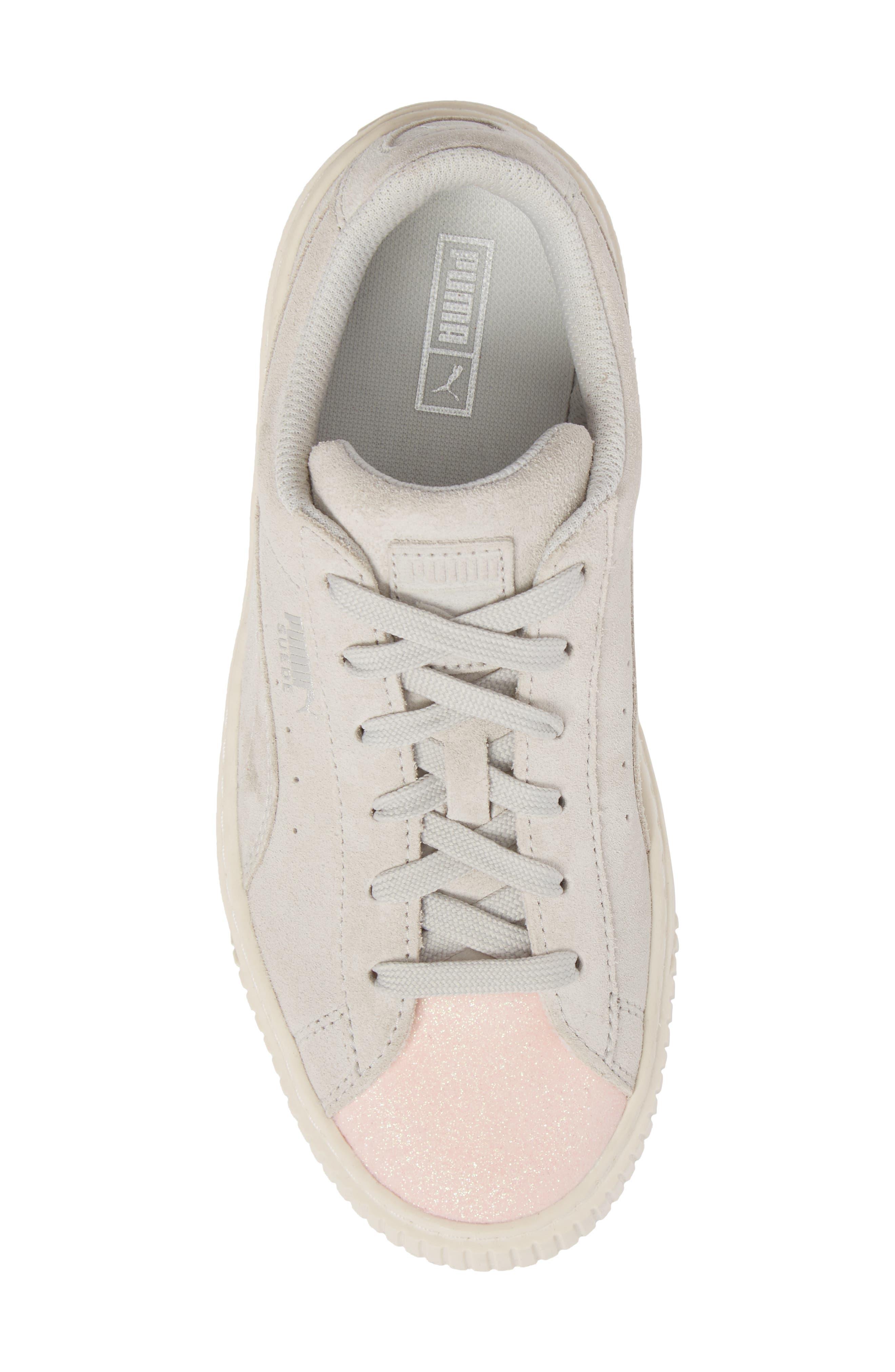 Suede Platform Glam PS Sneaker,                             Alternate thumbnail 5, color,                             Pearl/ Glacier Gray