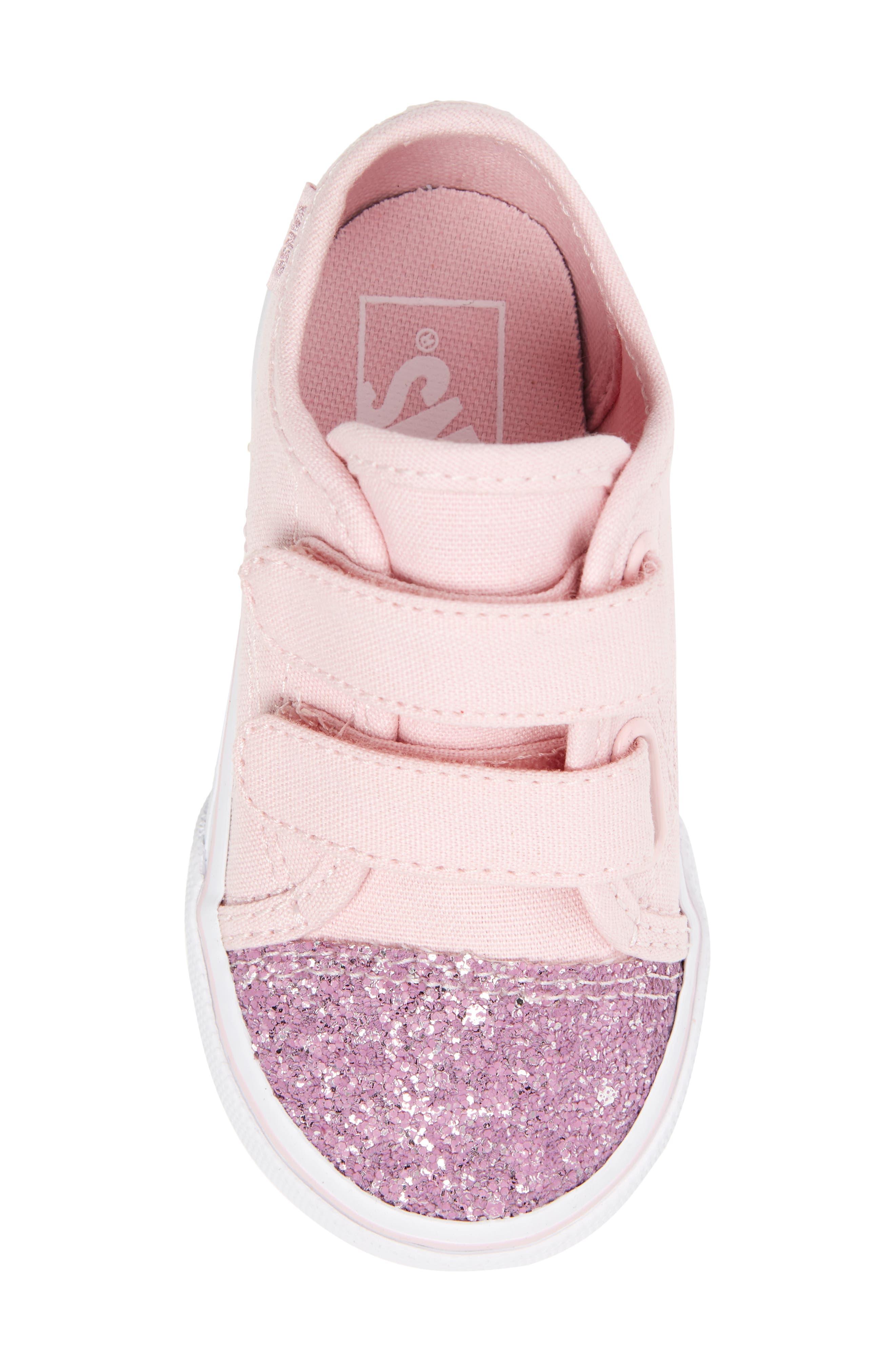 Glitter Toe Style 23 V Sneaker,                             Alternate thumbnail 5, color,                             Glitter Chalk Pink/ True White