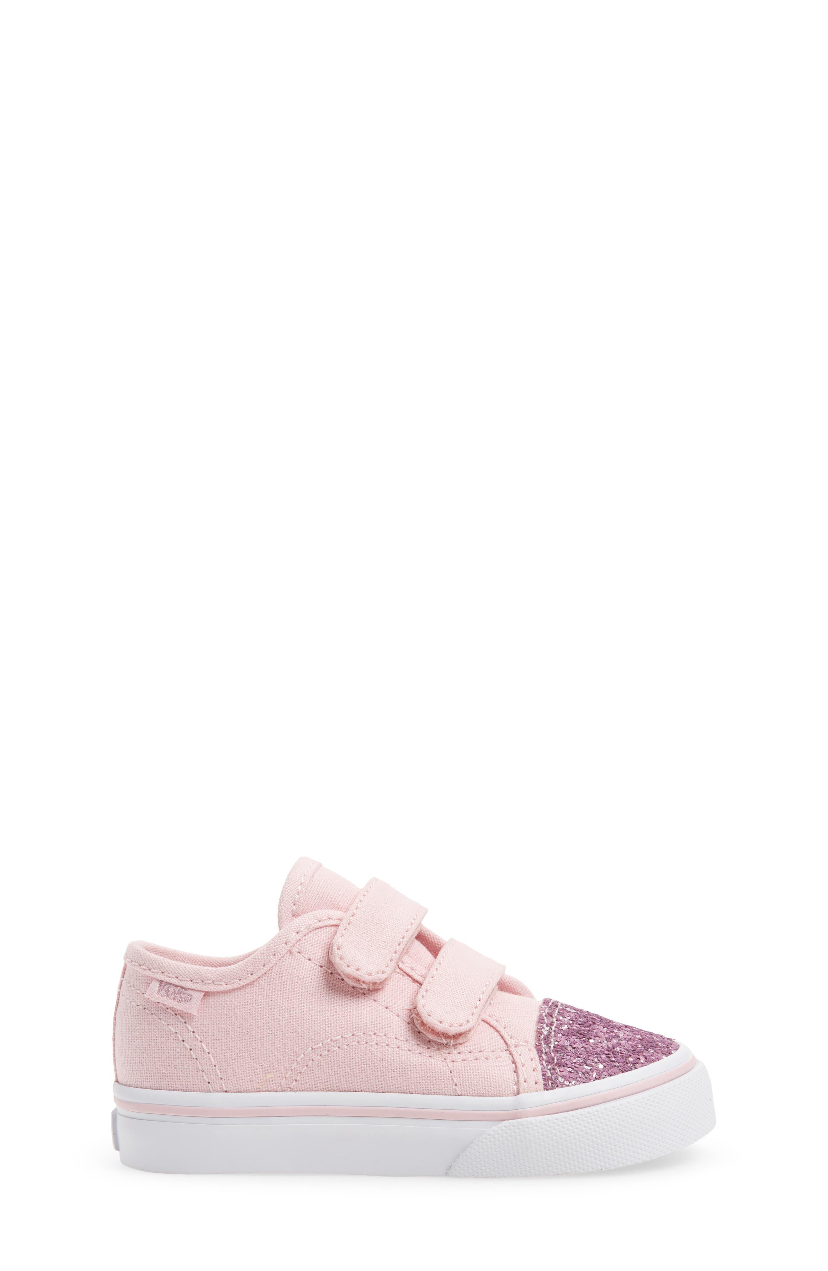 Glitter Toe Style 23 V Sneaker,                             Alternate thumbnail 3, color,                             Glitter Chalk Pink/ True White