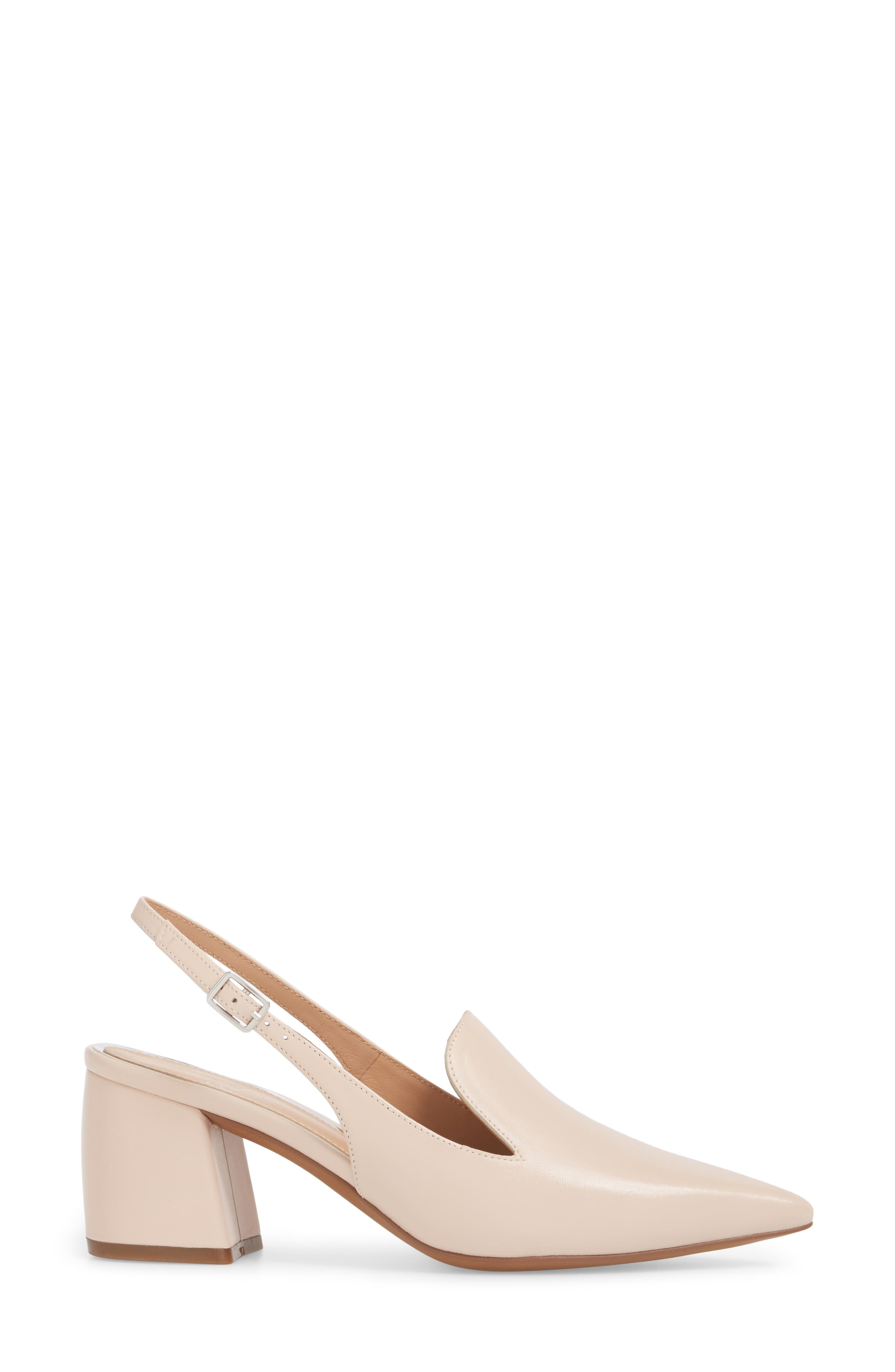 Carly Slingback Pump,                             Alternate thumbnail 3, color,                             Pale Pink Leather