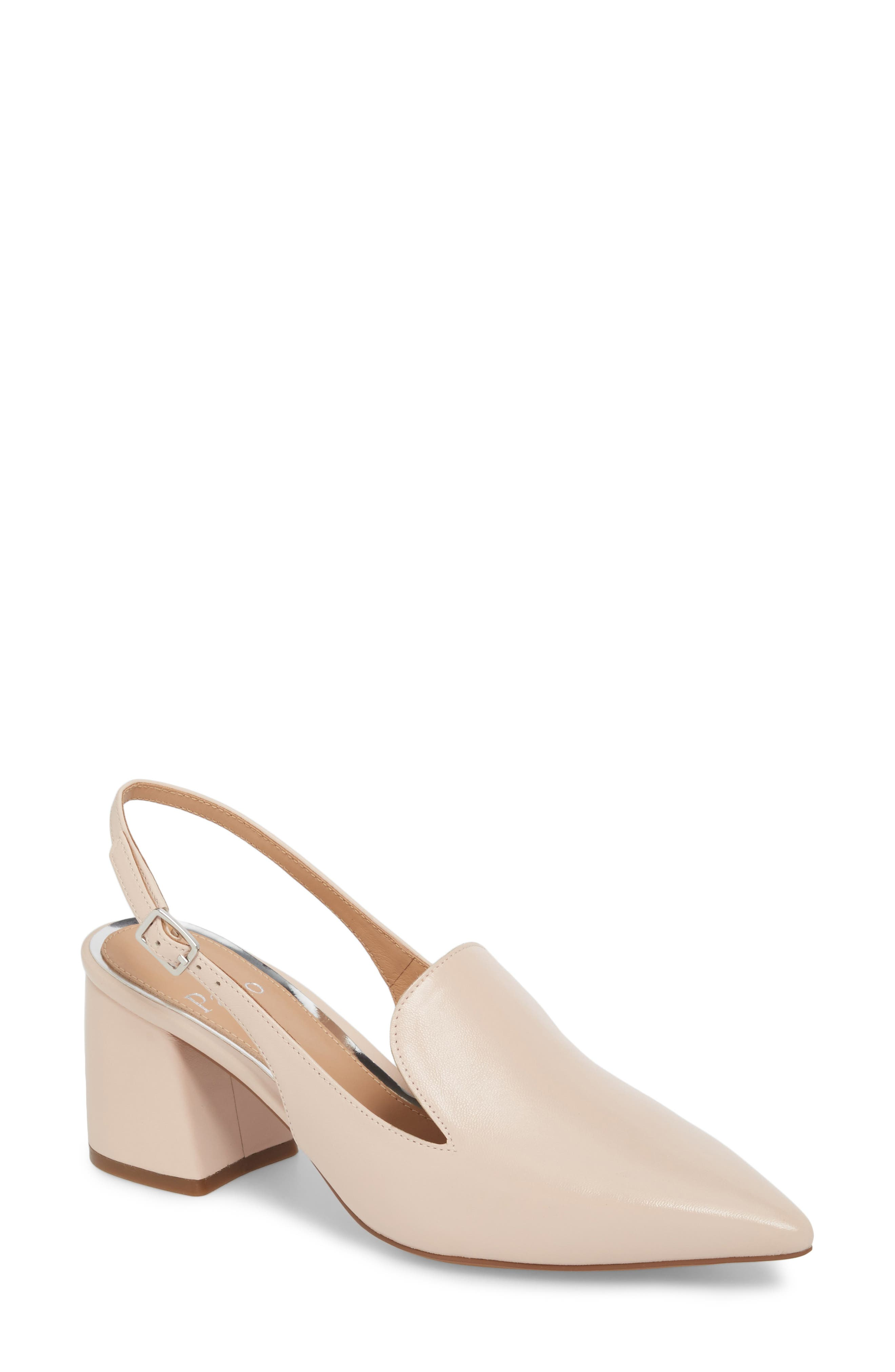 Carly Slingback Pump,                         Main,                         color, Pale Pink Leather