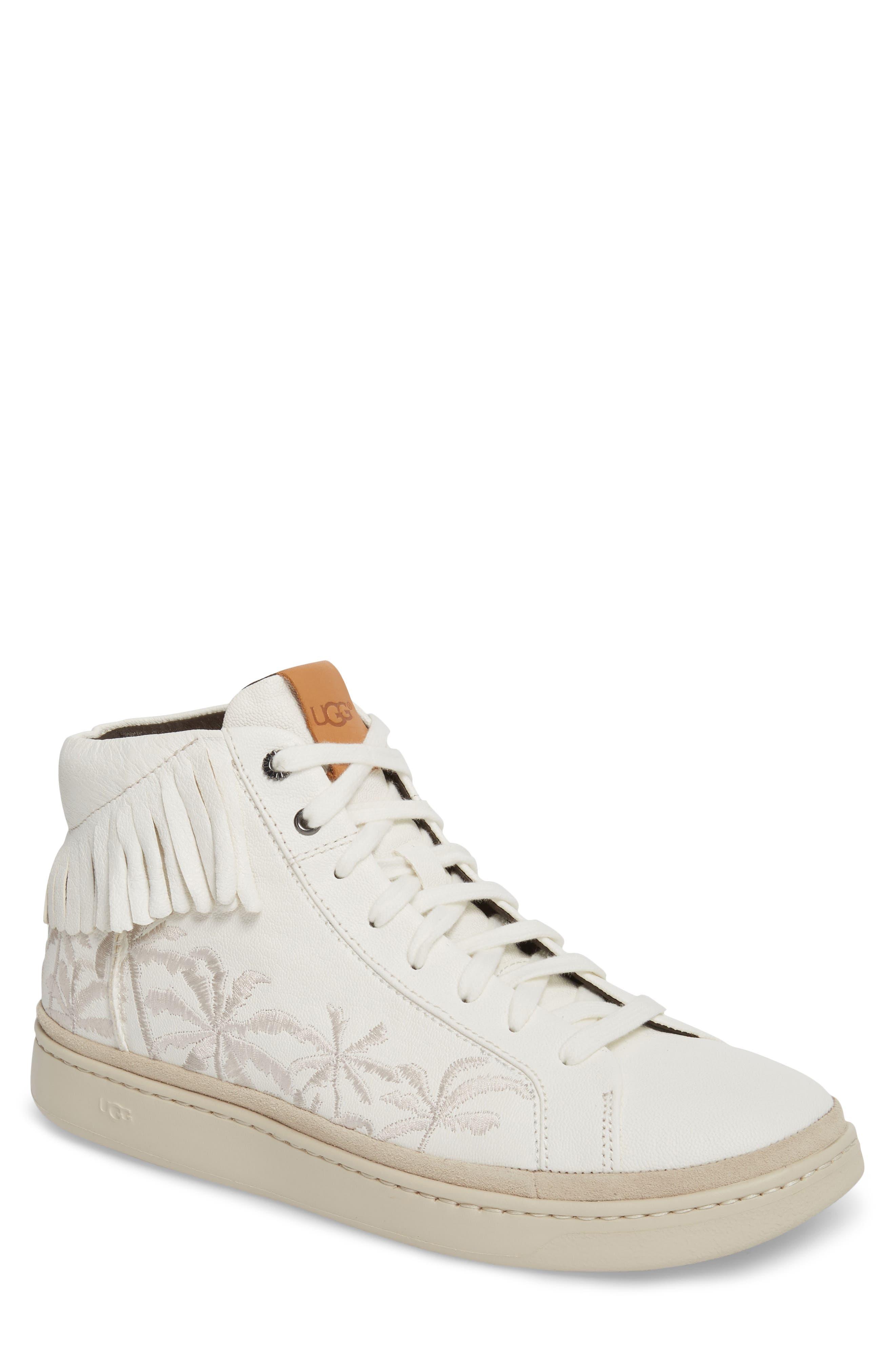 Cali Fringe High Top Sneaker,                             Main thumbnail 1, color,                             White Leather