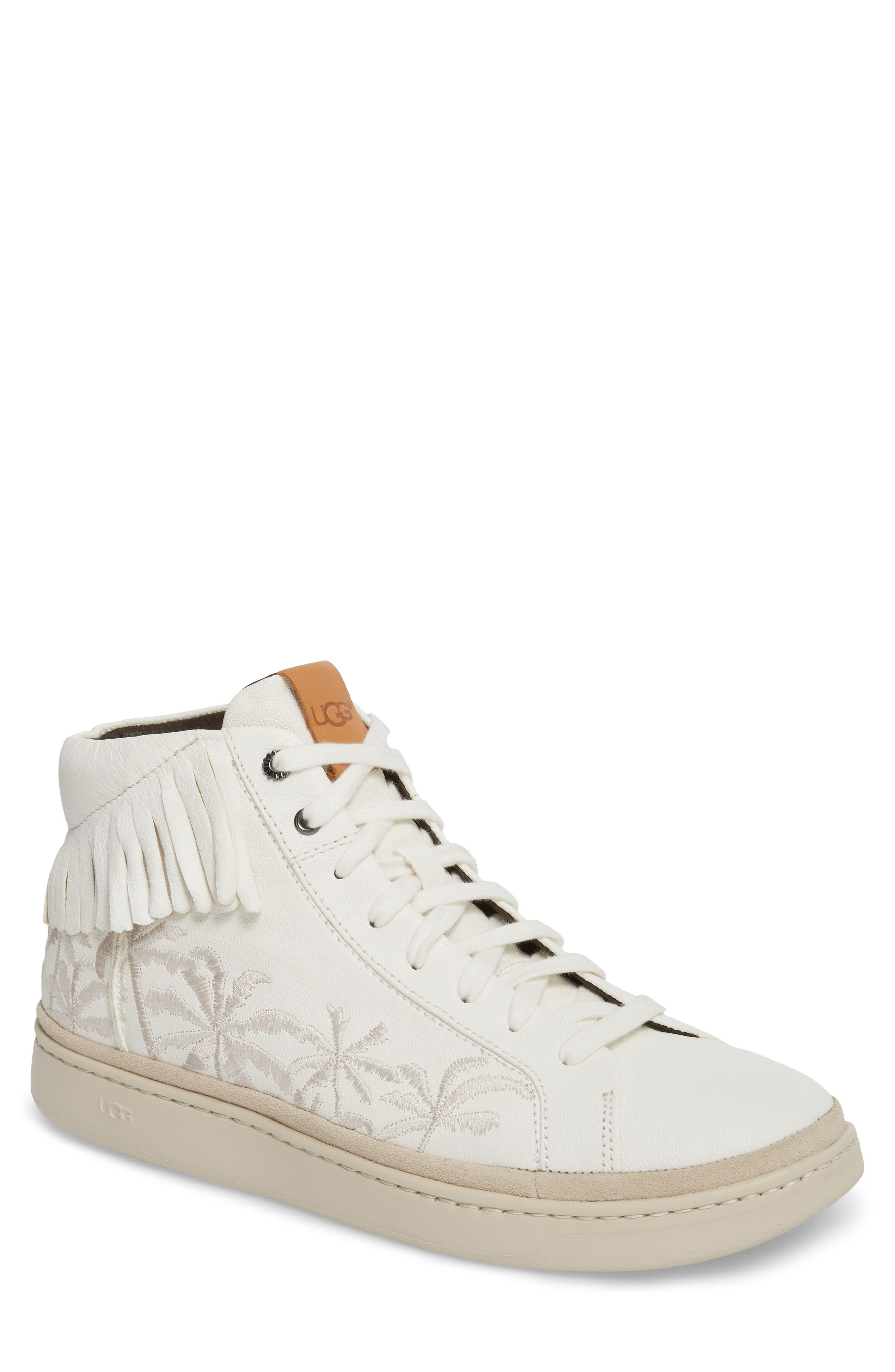Cali Fringe High Top Sneaker,                         Main,                         color, White Leather