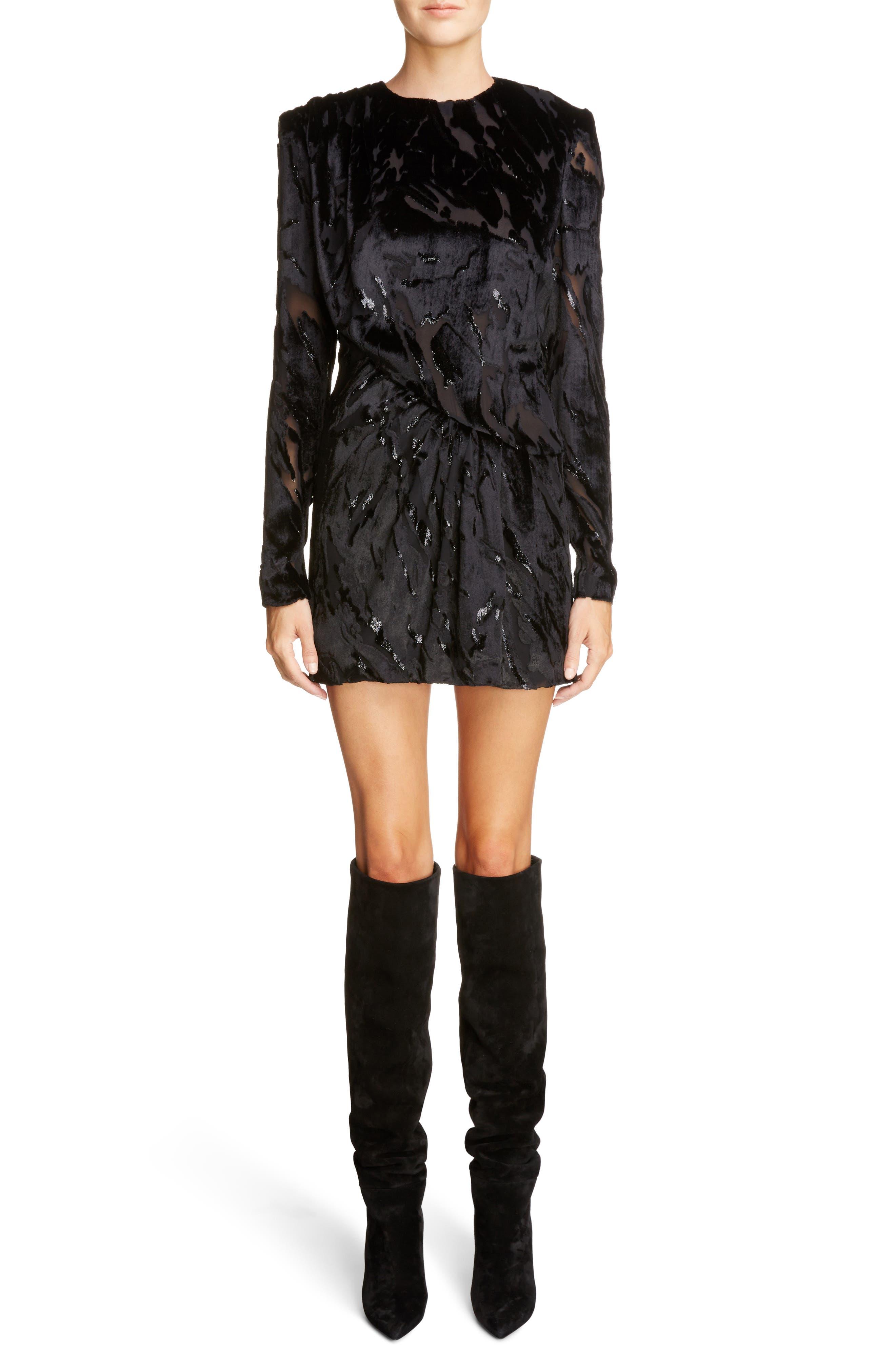 Main Image - Saint Laurent Devoré Asymmetrical Waist Dress