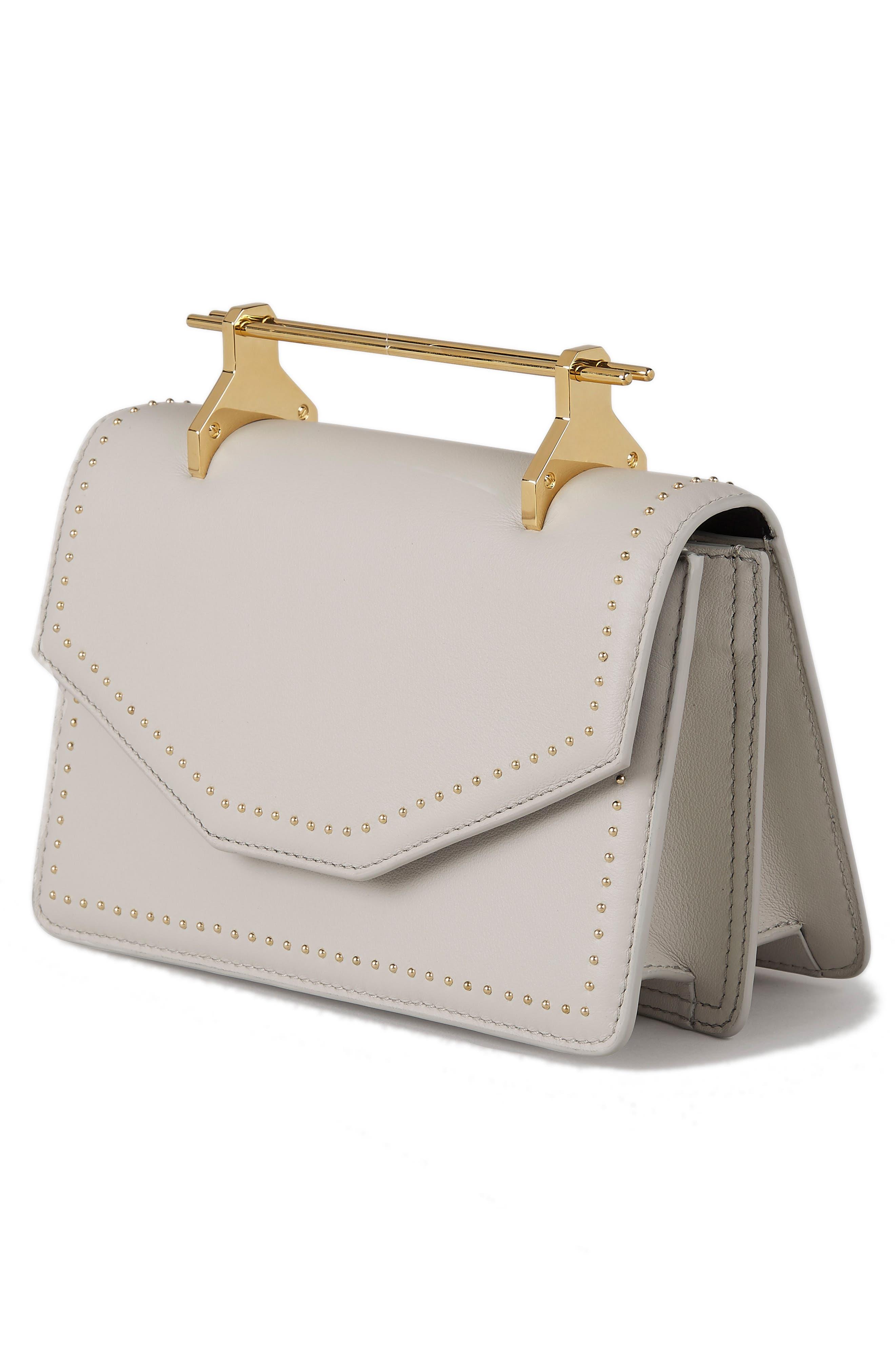 Indre Leather Shoulder Bag,                             Alternate thumbnail 3, color,                             Studded Cool Grey/ Gold