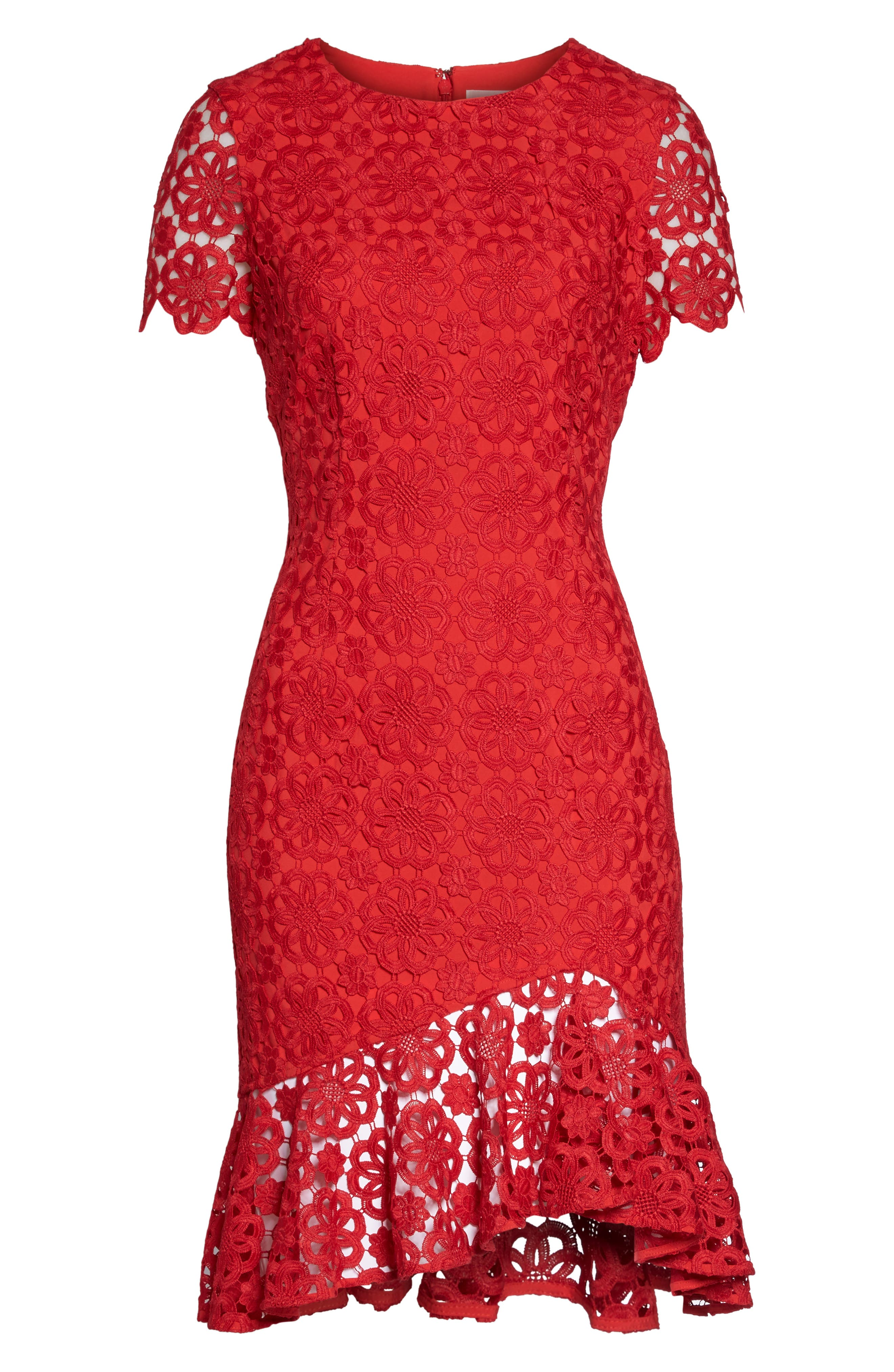 Ruffle Hem Lace Sheath Dress,                             Alternate thumbnail 7, color,                             Red
