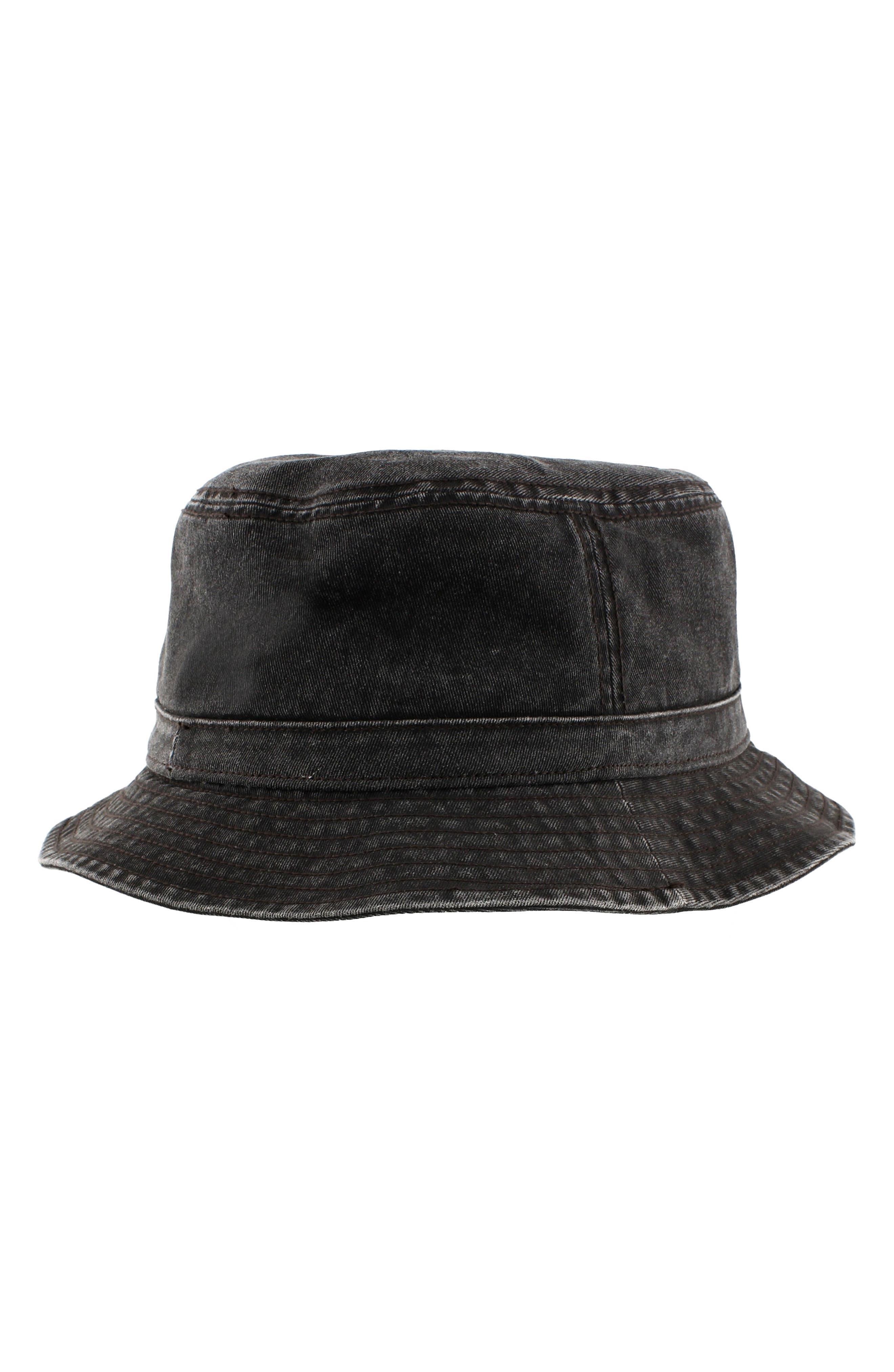 Washed Bucket Hat,                             Alternate thumbnail 4, color,                             Black/ Black