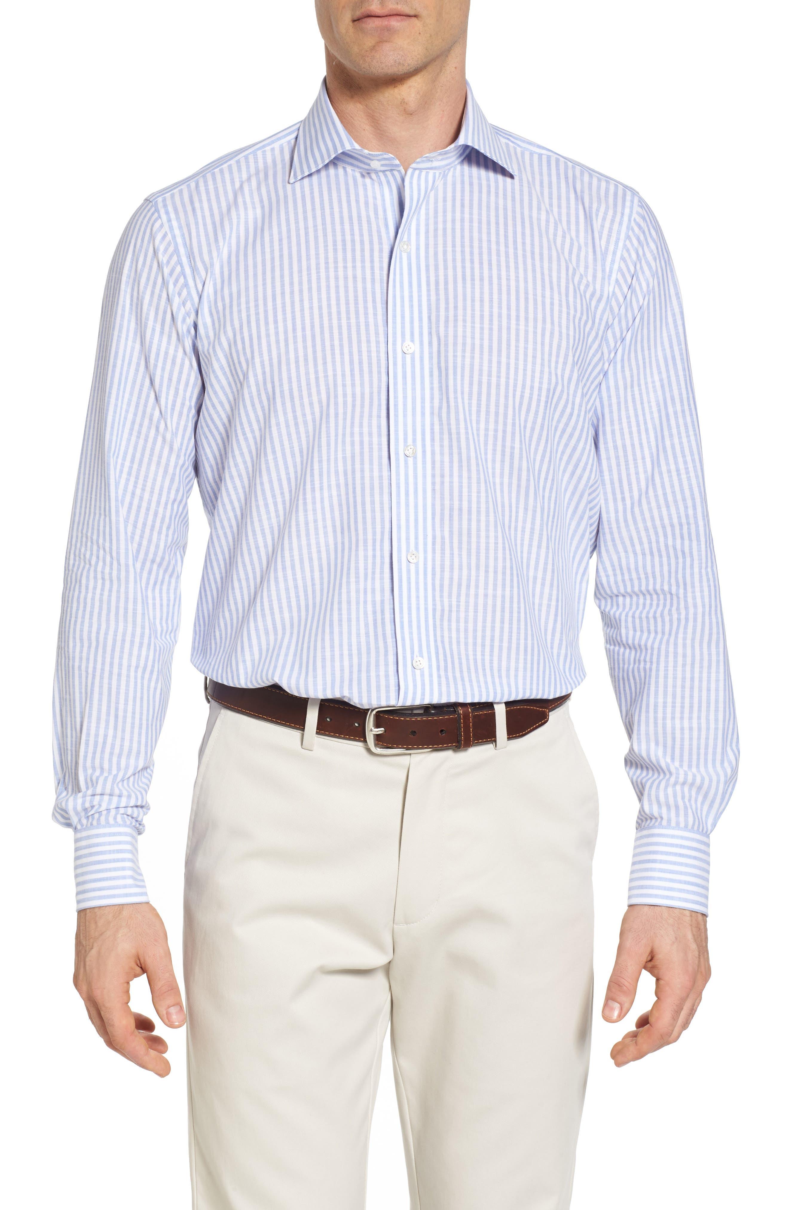 Summer Stripe Chambray Sport Shirt,                         Main,                         color, Blue Ceillo