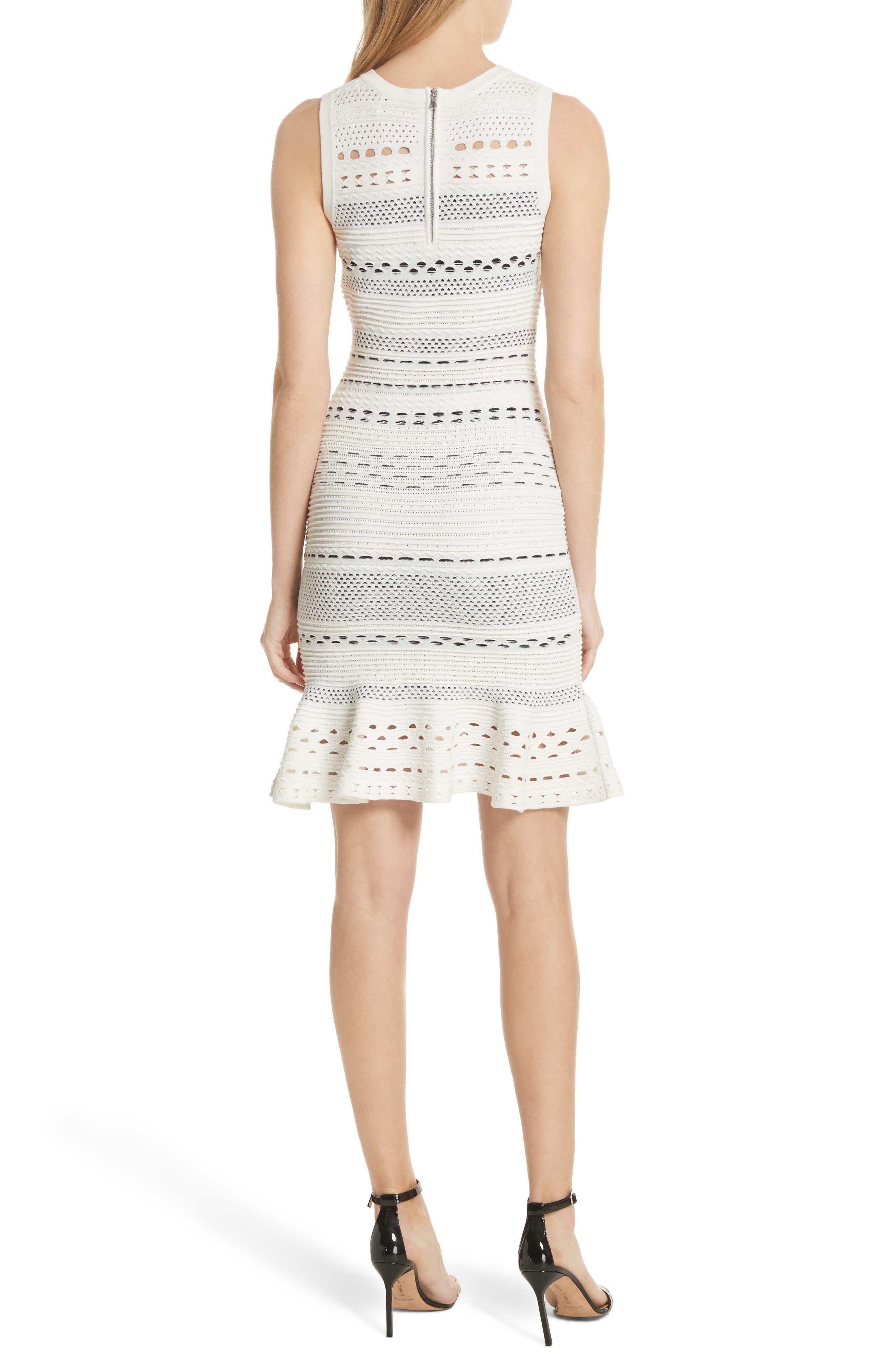 Cutout Lace Knit Dress,                             Alternate thumbnail 2, color,                             White/ Black