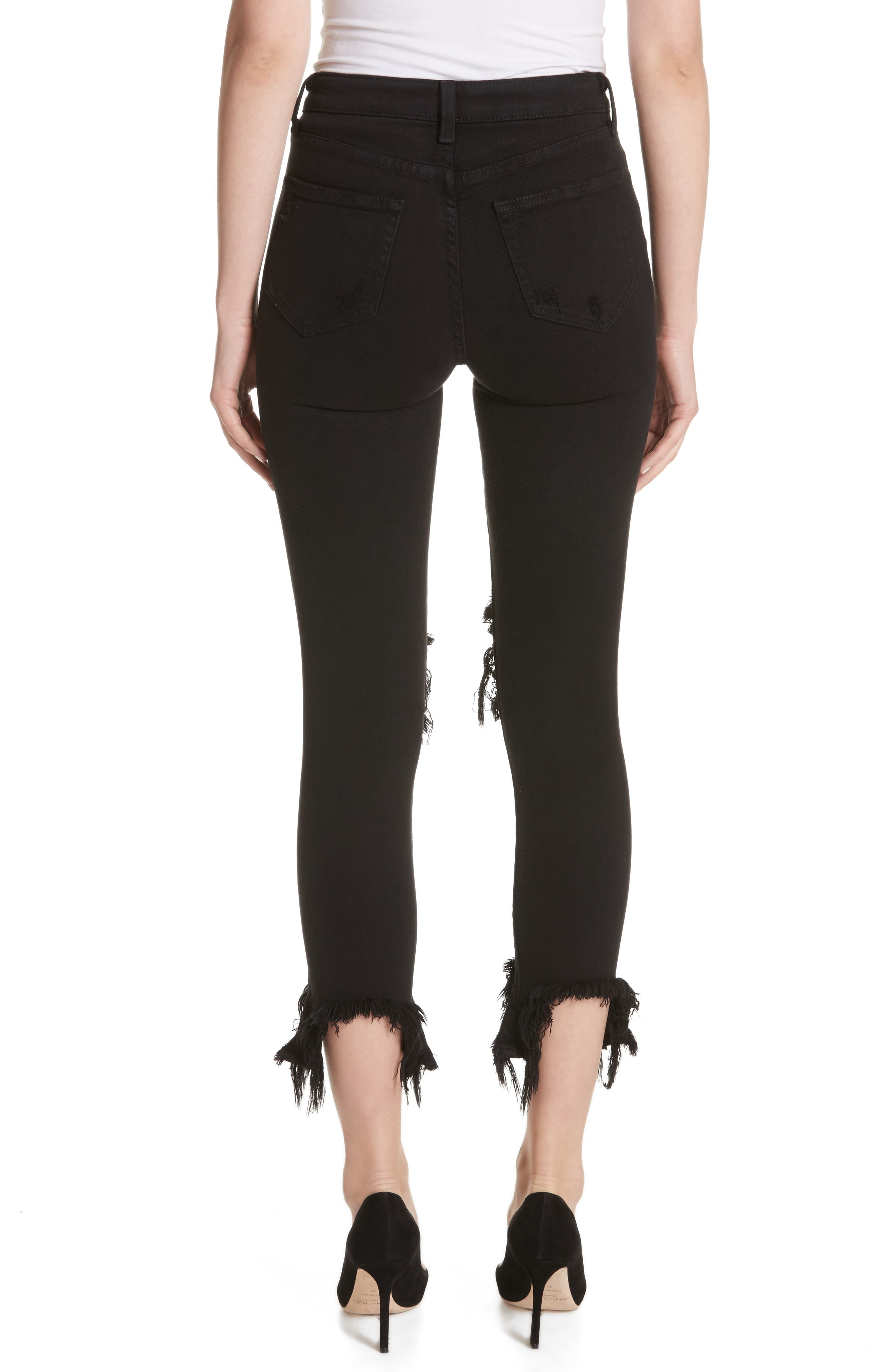 Highline High Waist Fray Hem Skinny Jeans,                             Alternate thumbnail 2, color,                             Saturated Black Destruct