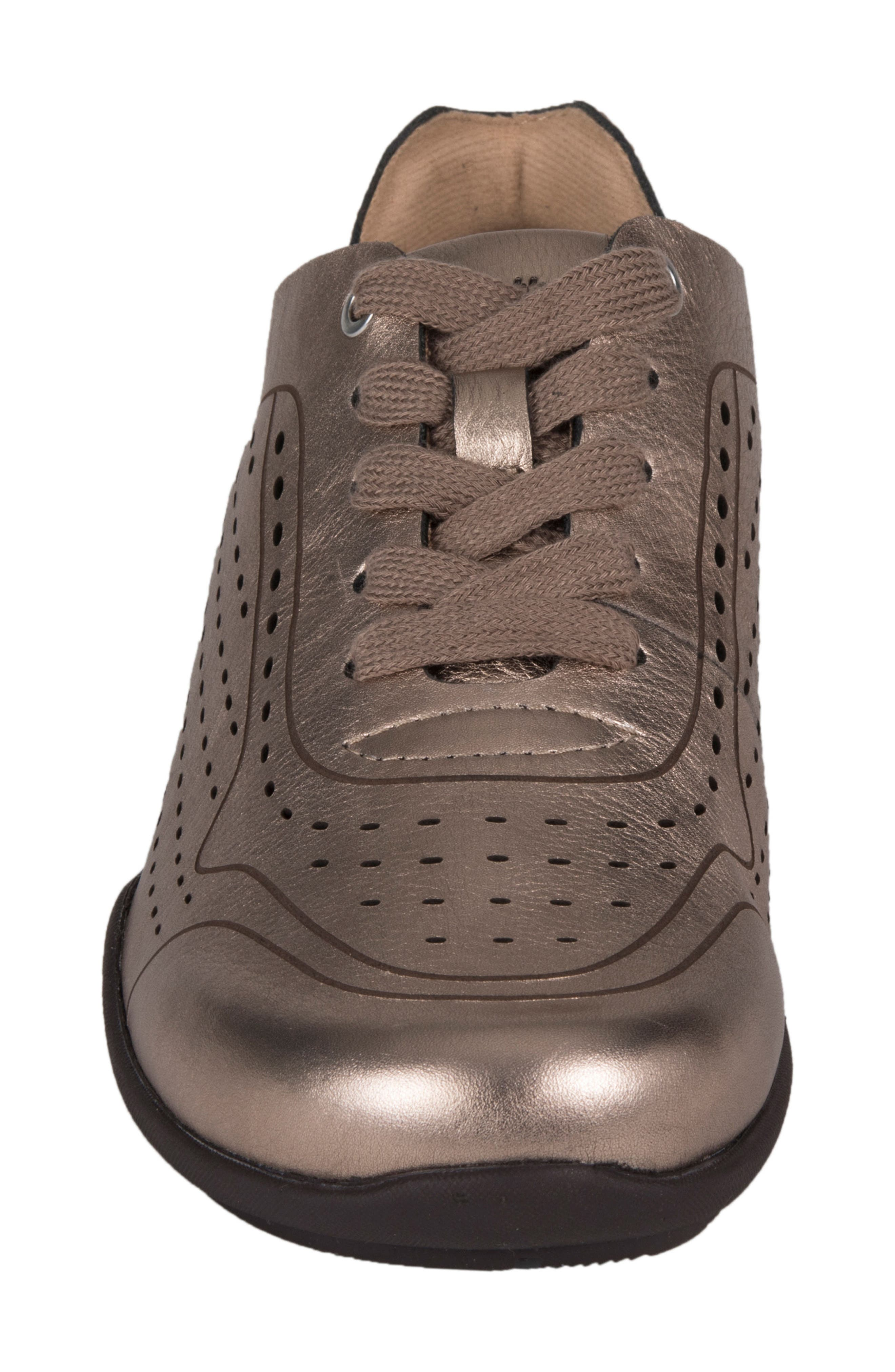 Serval Perforated Sneaker,                             Alternate thumbnail 4, color,                             Champagne Metallic Leather