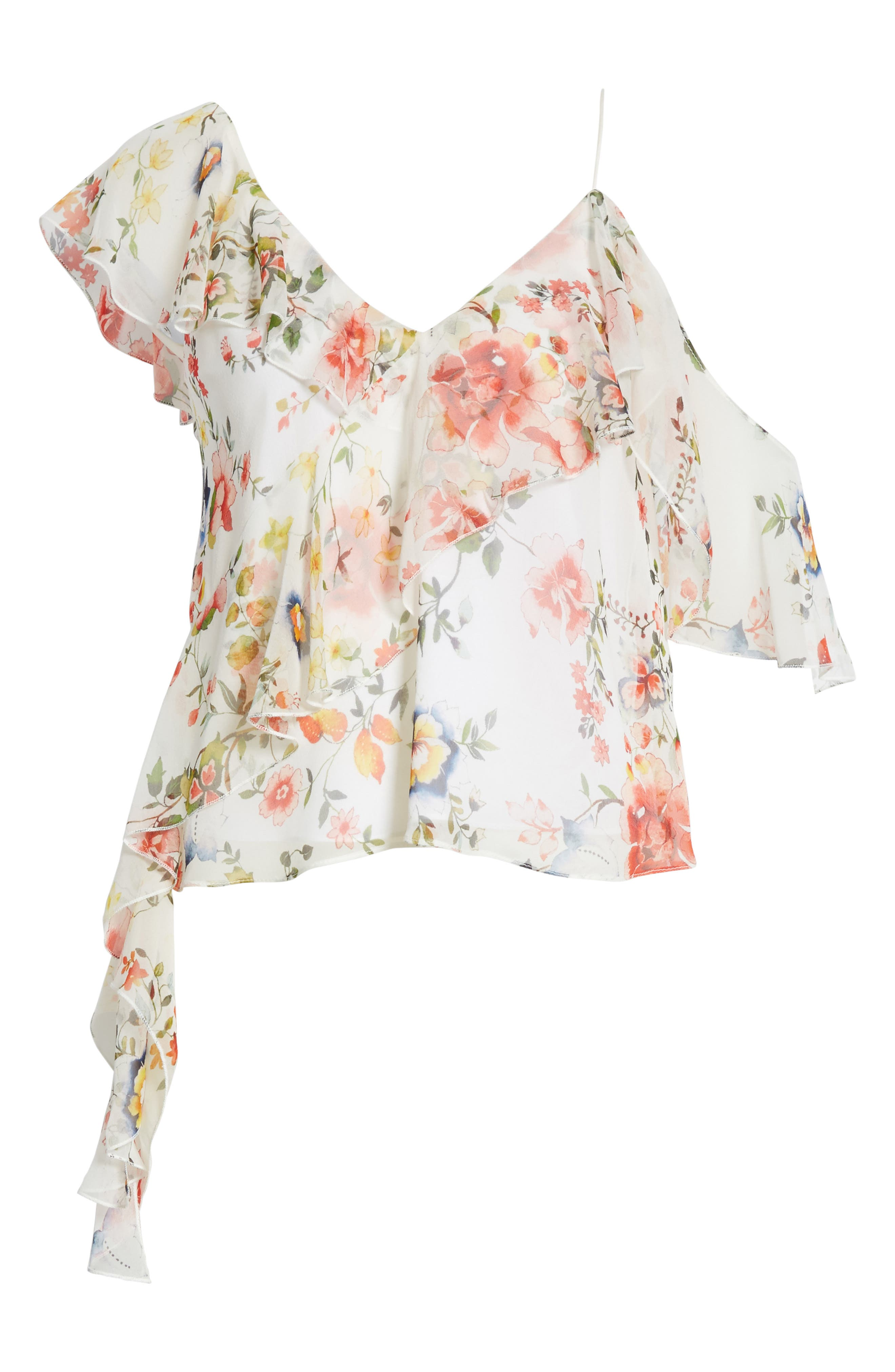 Pauline Asymmetrical Silk Tank,                             Alternate thumbnail 6, color,                             Floral Soiree-Off White