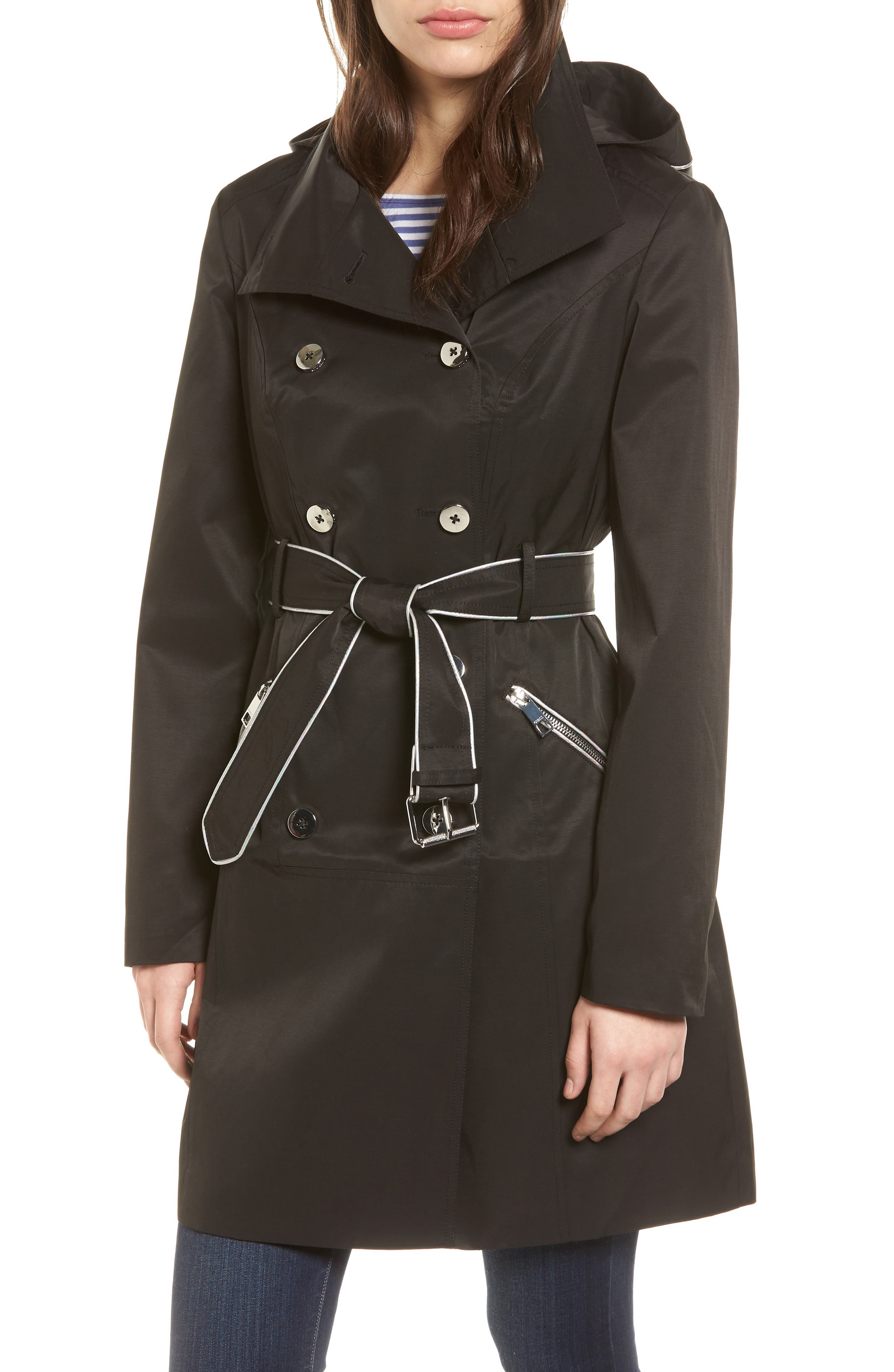 Hooded Piped Trench Coat,                             Main thumbnail 1, color,                             Black